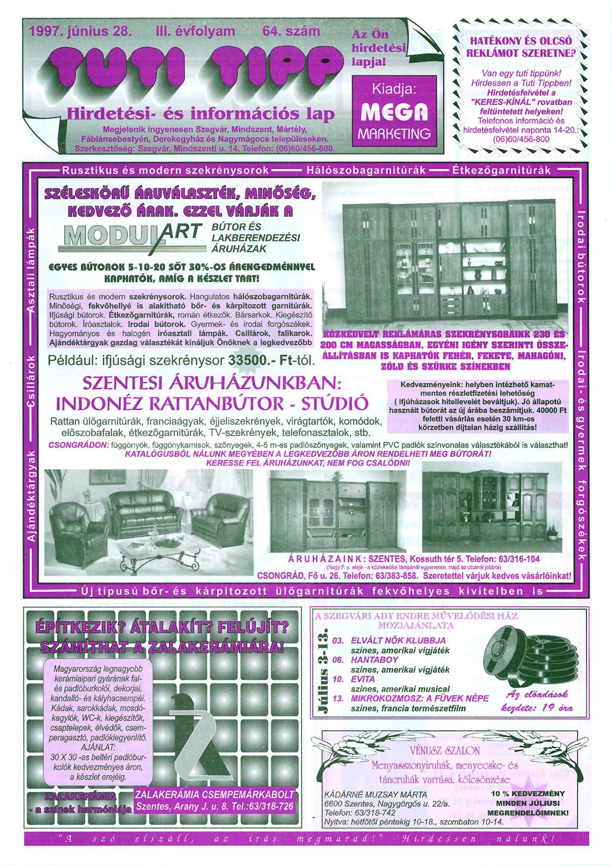 021 Tuti Tipp reklámújság - 19970628-064. lapszám - 1.oldal - III. évfolyam.jpg