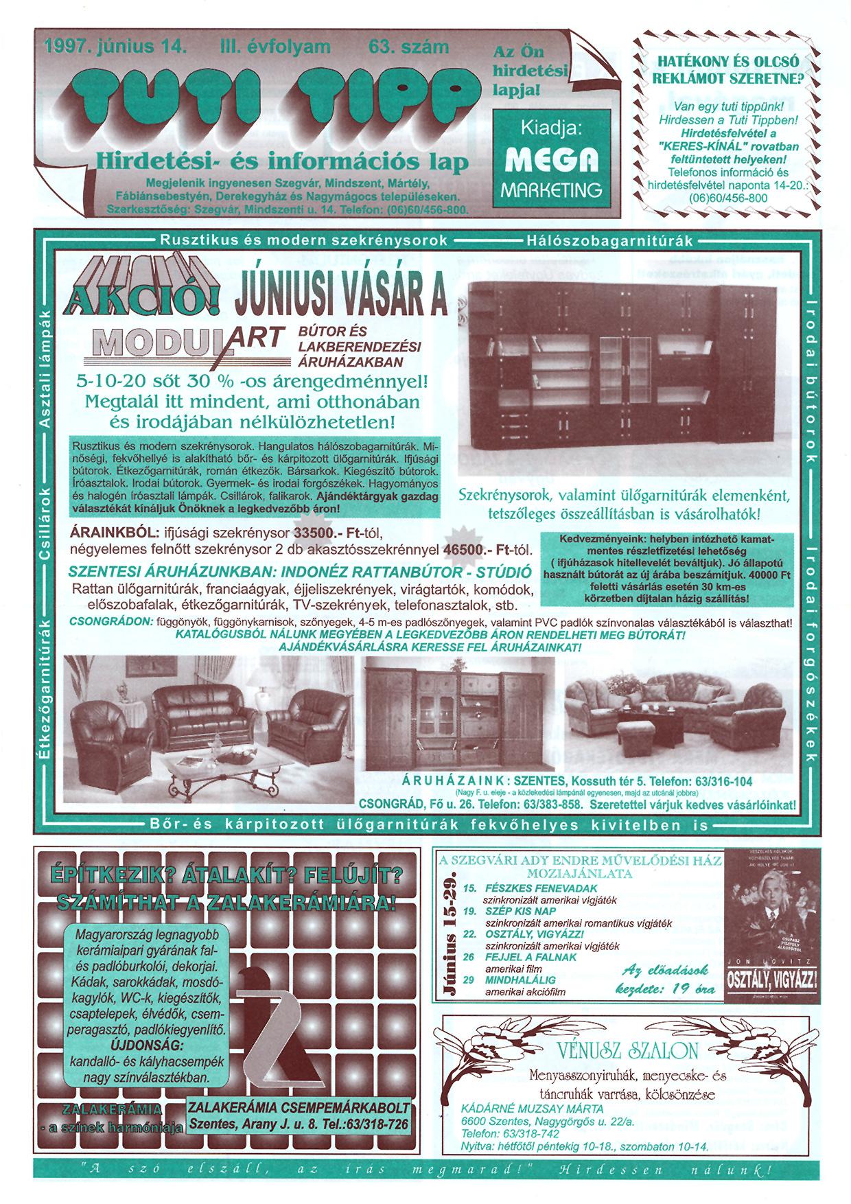 019 Tuti Tipp reklámújság - 19970614-063. lapszám - 1.oldal - III. évfolyam.jpg