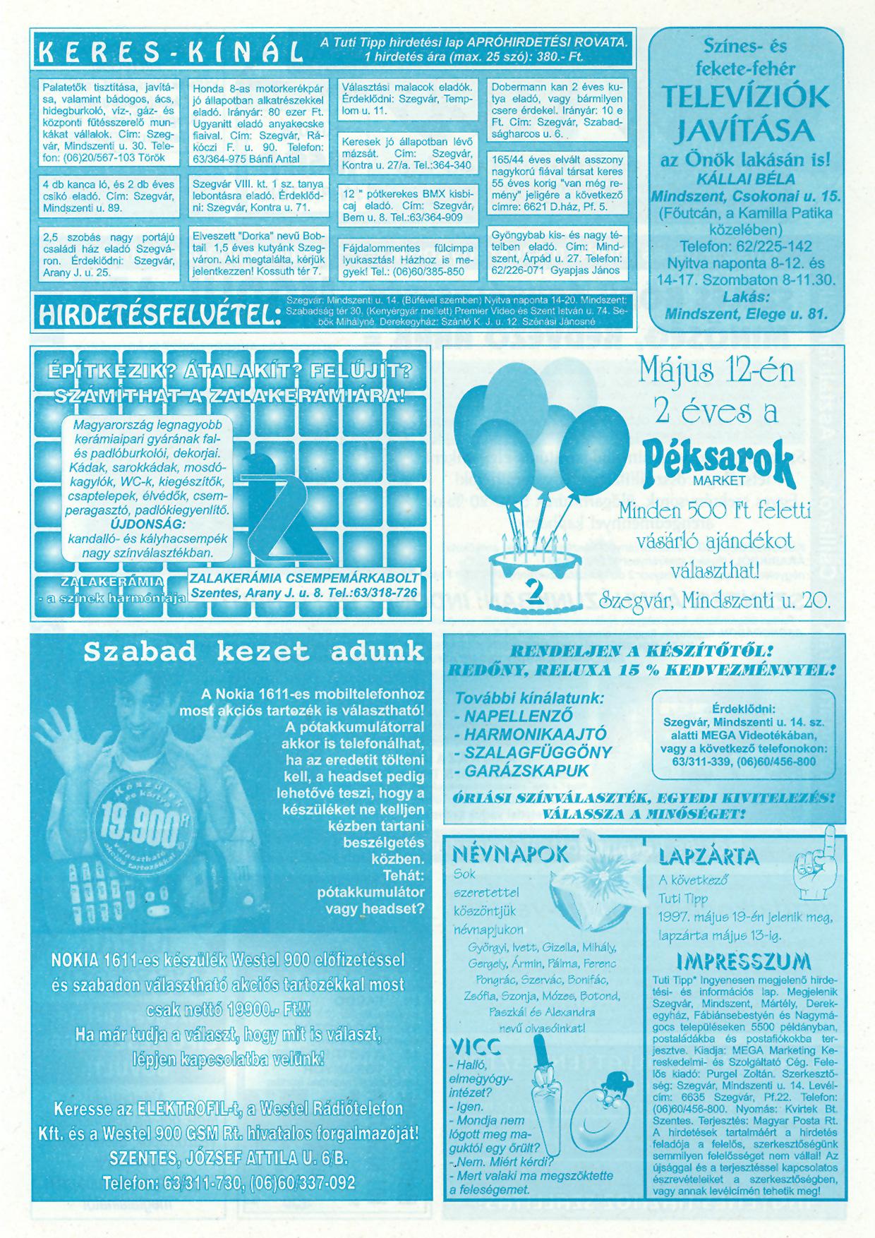 016 Tuti Tipp reklámújság - 19970505-061. lapszám - 2.oldal - III. évfolyam.jpg