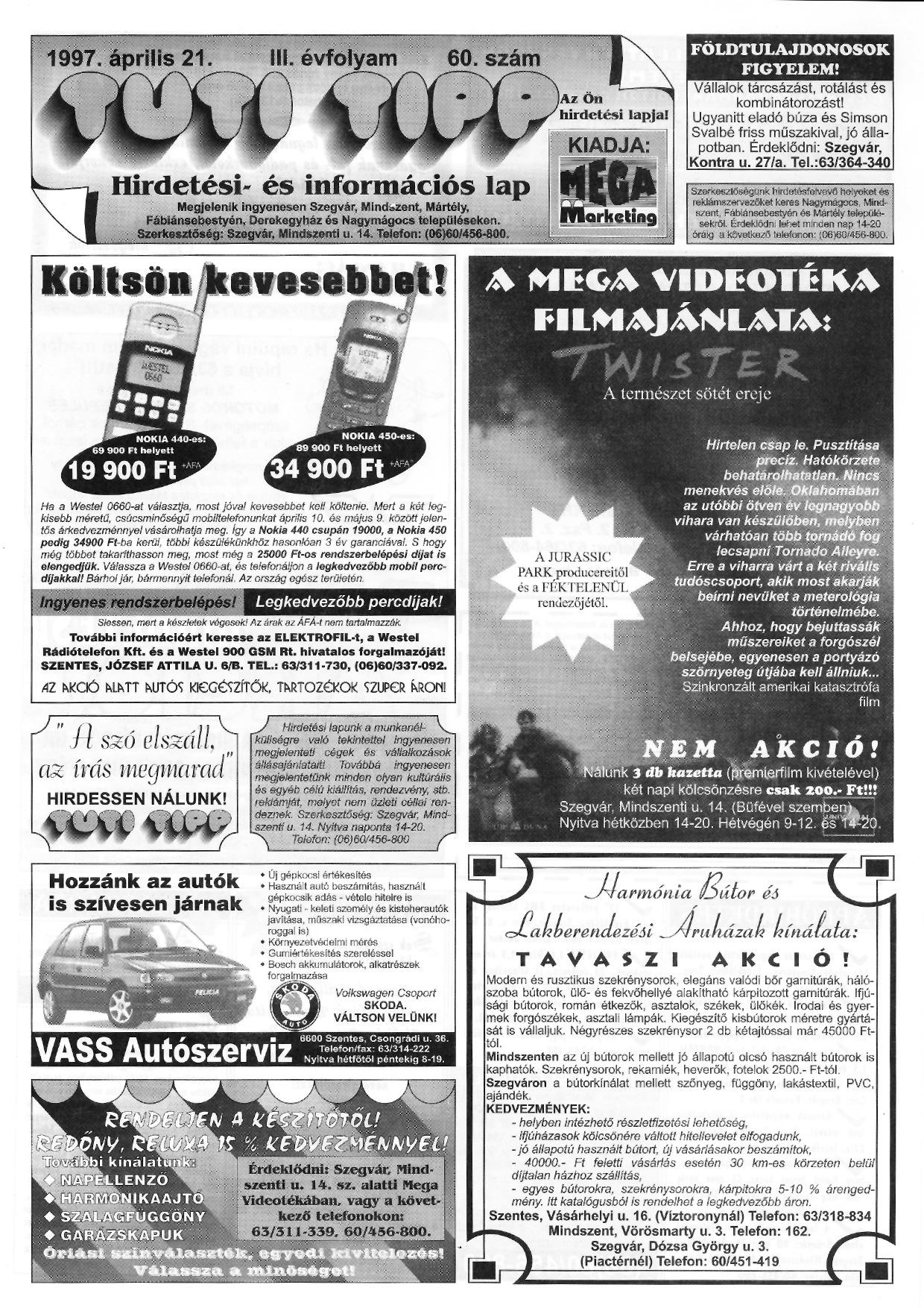 013 Tuti Tipp reklámújság - 19970421-060. lapszám - 1.oldal - III. évfolyam.jpg