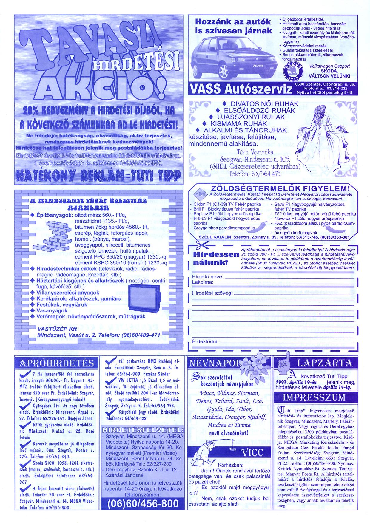 012 Tuti Tipp reklámújság - 19970407-059. lapszám - 2.oldal - III. évfolyam.jpg
