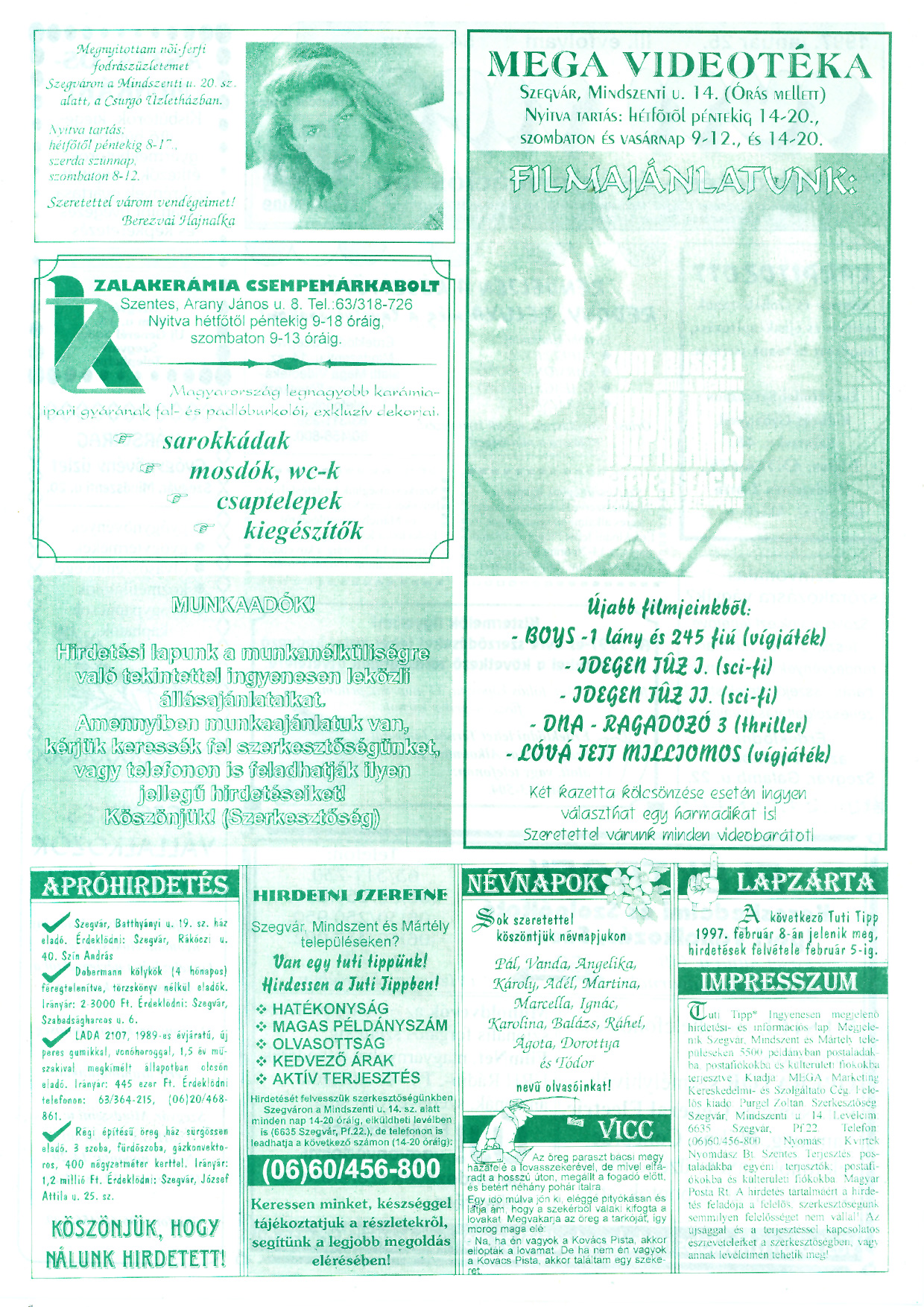 002 Tuti Tipp reklámújság - 19970125-054. lapszám - 2.oldal - III. évfolyam.jpg