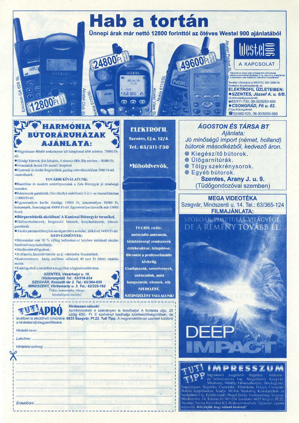 062 Tuti Tipp reklámújság - 19981212-100+010. lapszám - 2.oldal - IV. évfolyam.jpg