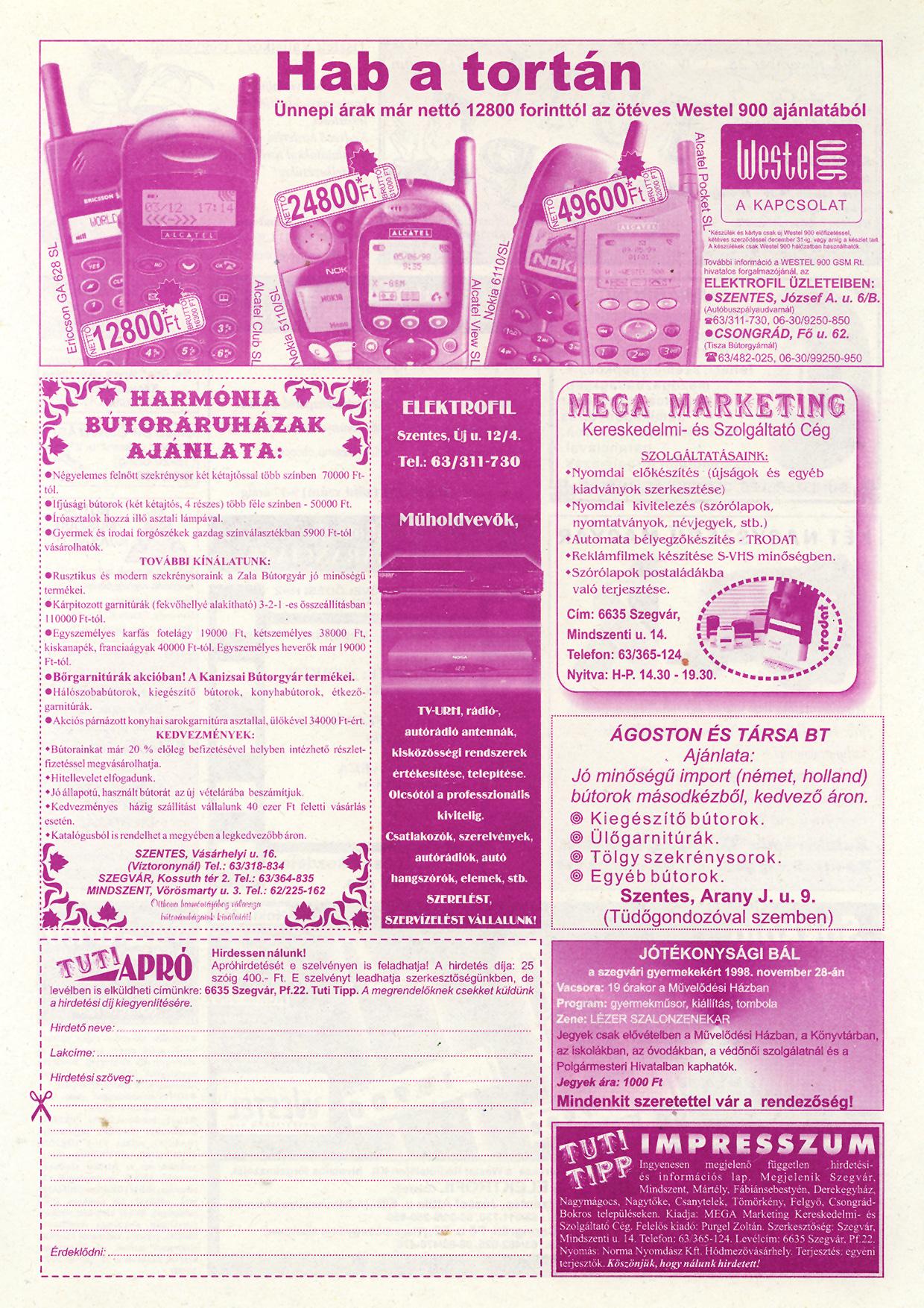 056 Tuti Tipp reklámújság - 19981128-098+008. lapszám - 2.oldal - IV. évfolyam.jpg