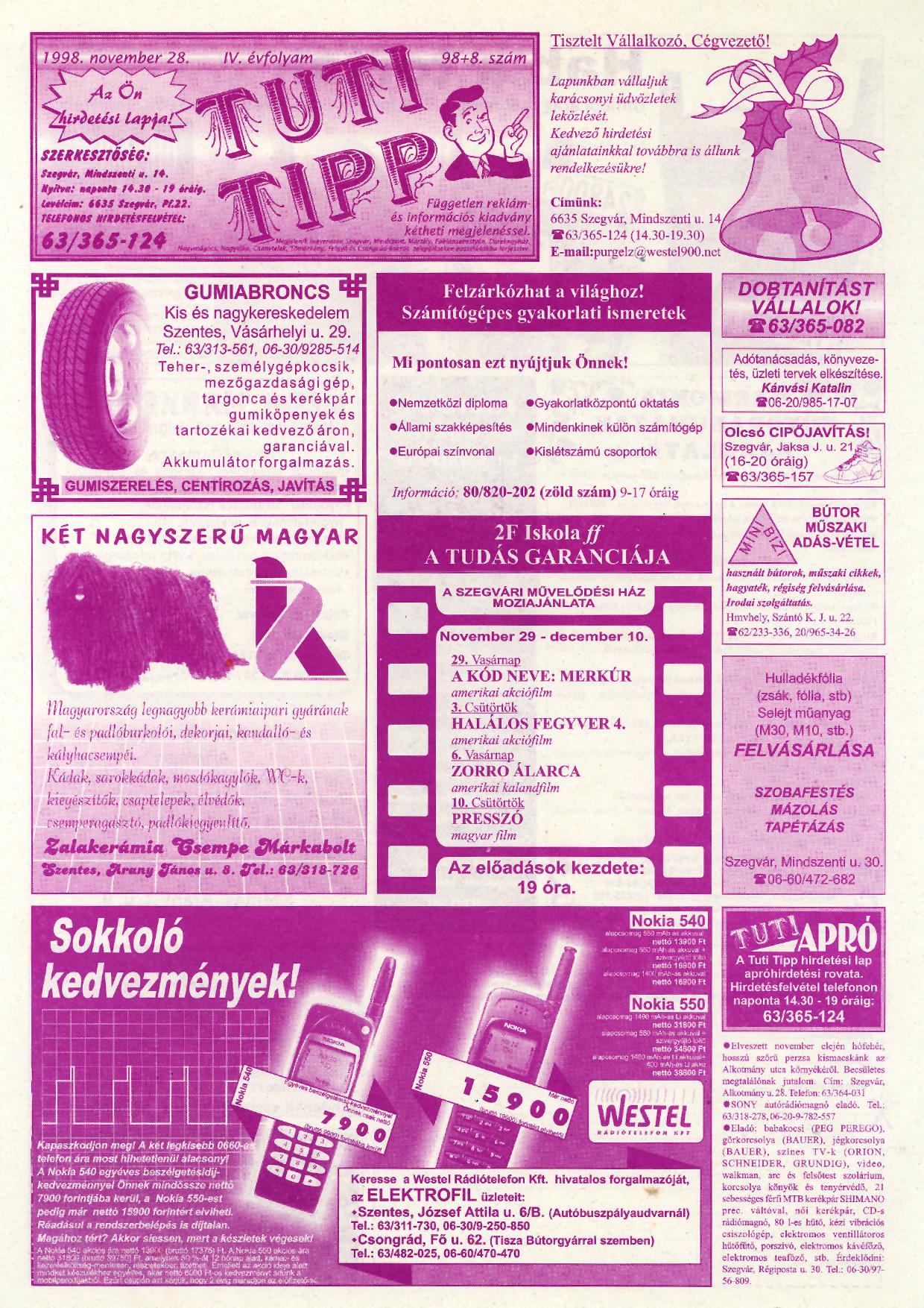 055 Tuti Tipp reklámújság - 19981128-098+008. lapszám - 1.oldal - IV. évfolyam.jpg