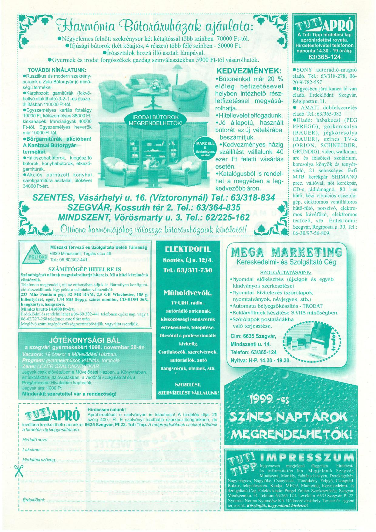 054 Tuti Tipp reklámújság - 19981114-097+007. lapszám - 2.oldal - IV. évfolyam.jpg