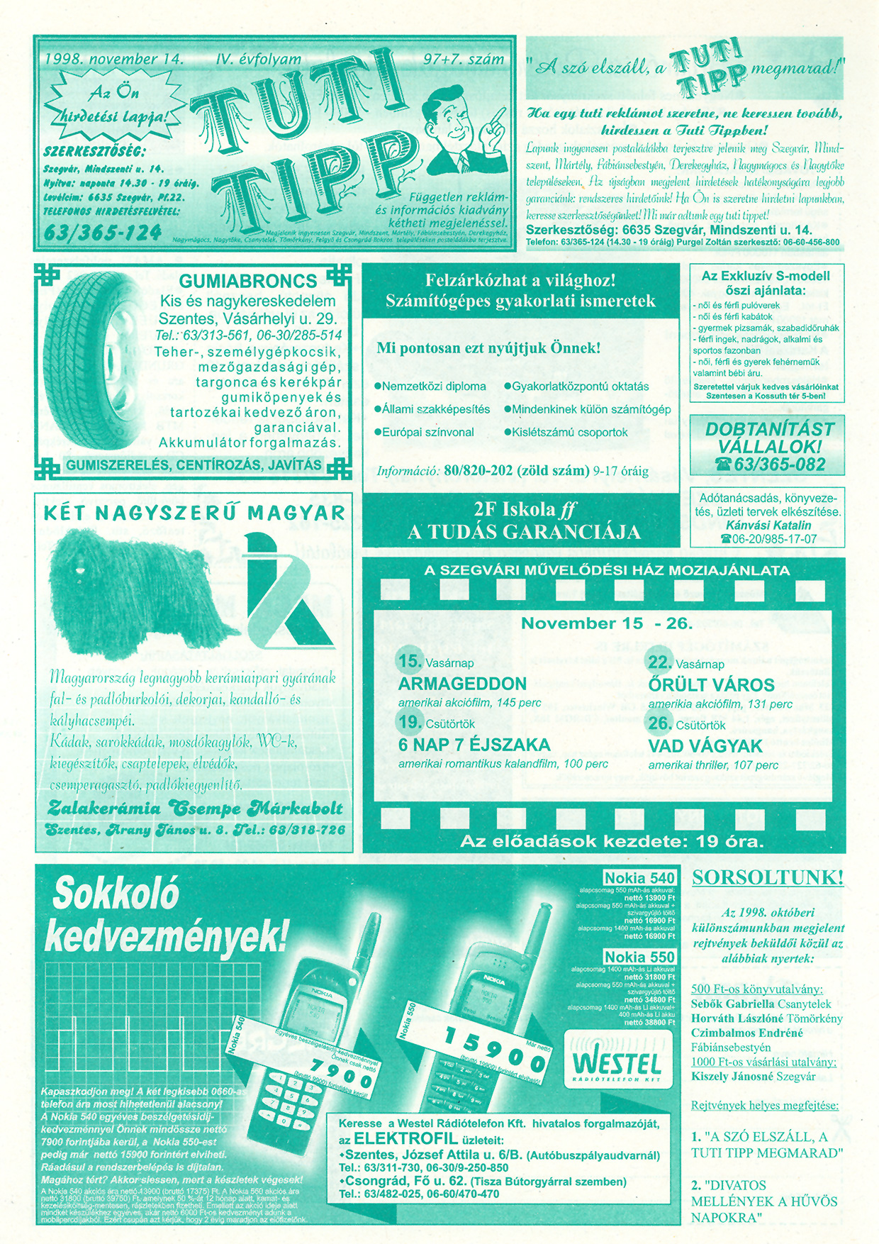053 Tuti Tipp reklámújság - 19981114-097+007. lapszám - 1.oldal - IV. évfolyam.jpg
