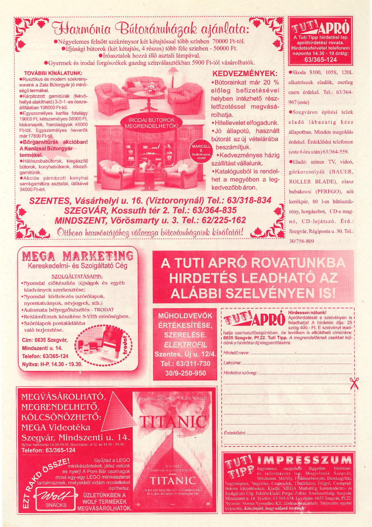 050 Tuti Tipp reklámújság - 19981017-095+005. lapszám - 2.oldal - IV. évfolyam.jpg