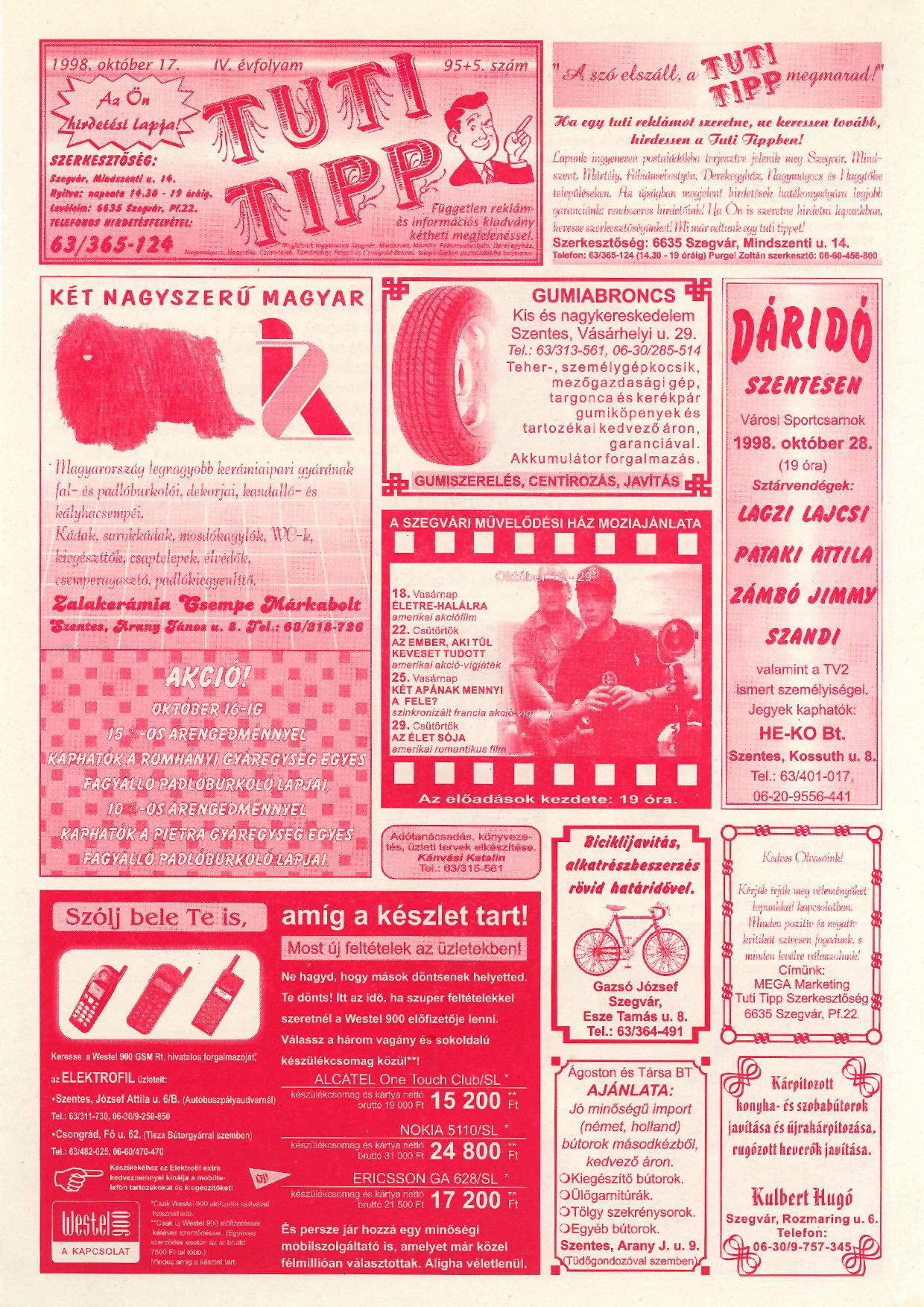 049 Tuti Tipp reklámújság - 19981017-095+005. lapszám - 1.oldal - IV. évfolyam.jpg
