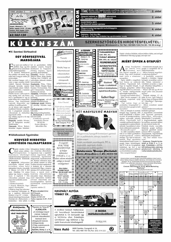 045 Tuti Tipp reklámújság különszám - 19981003-094+004. lapszám - 1.oldal - IV. évfolyam.jpg