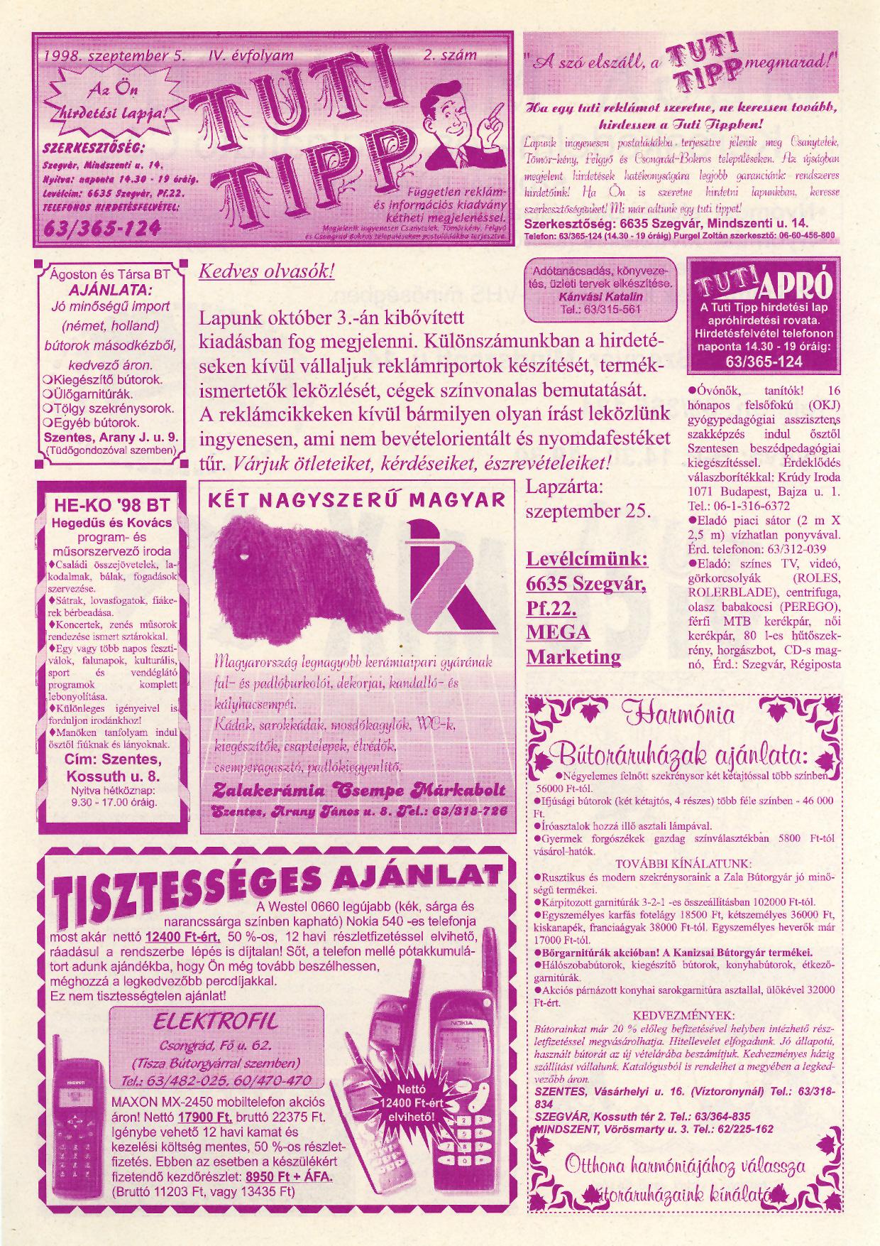 037 Tuti Tipp reklámújság - 19980905-002. lapszám - 1.oldal - IV. évfolyam.jpg