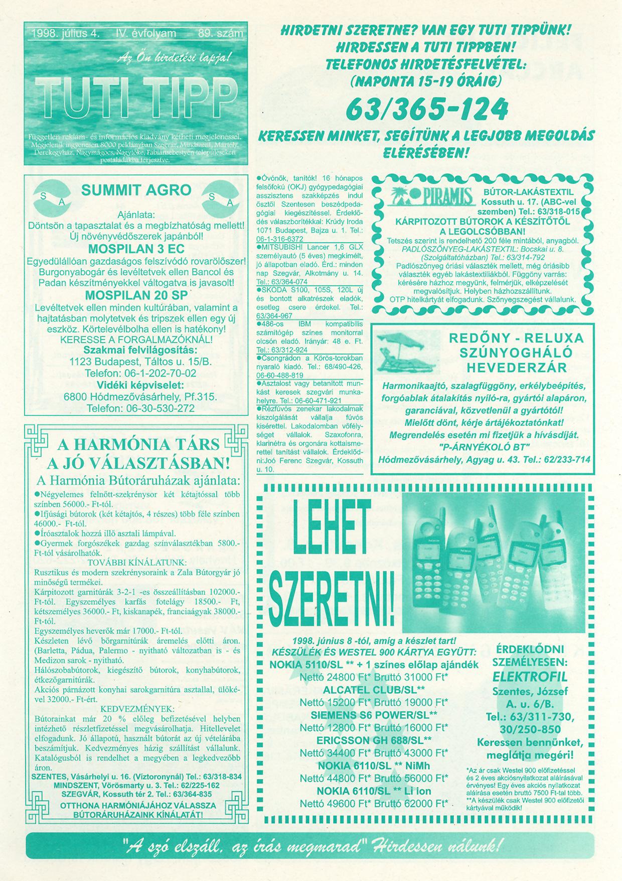 025 Tuti Tipp reklámújság - 19980704-089. lapszám - 1.oldal - IV. évfolyam.jpg