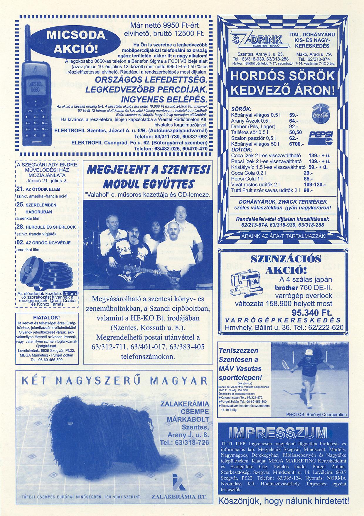 024 Tuti Tipp reklámújság - 19980620-088. lapszám - 2.oldal - IV. évfolyam.jpg