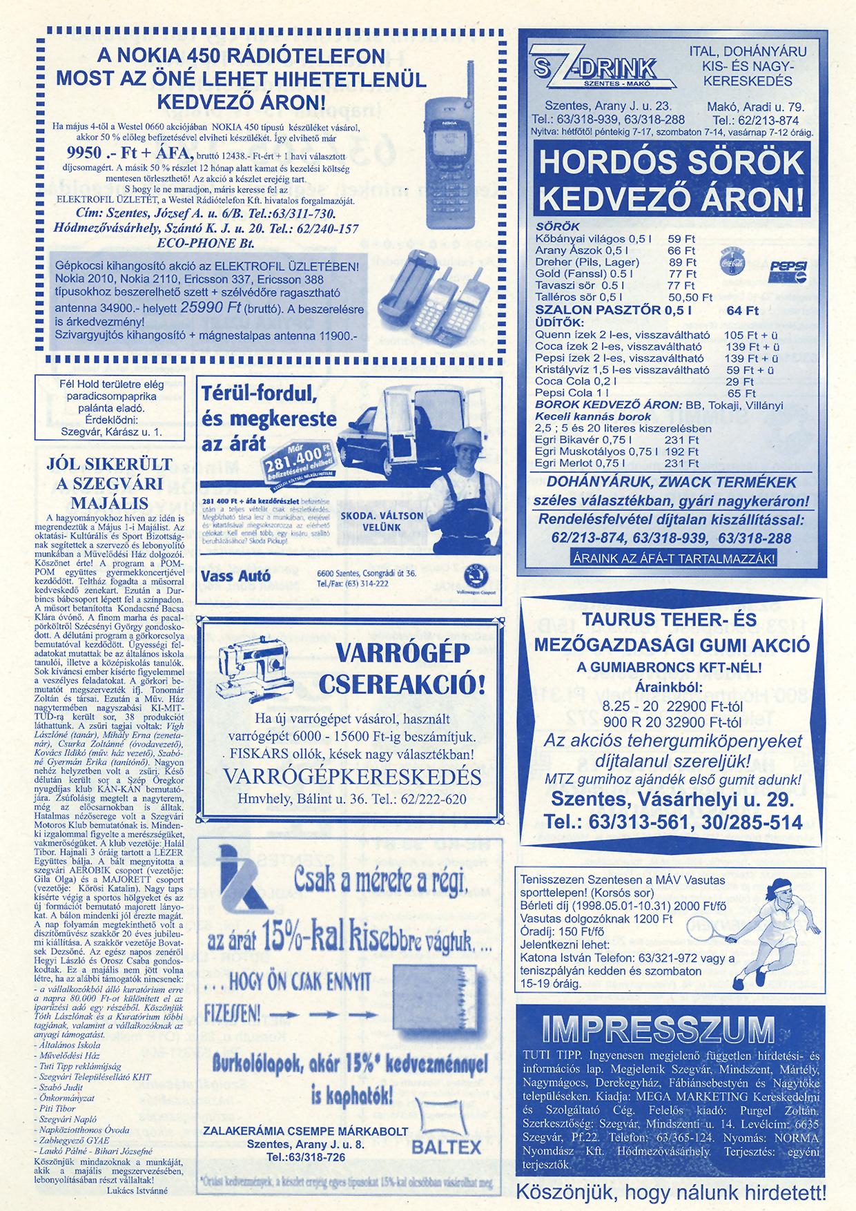 020 Tuti Tipp reklámújság - 19980523-086. lapszám - 2.oldal - IV. évfolyam.jpg