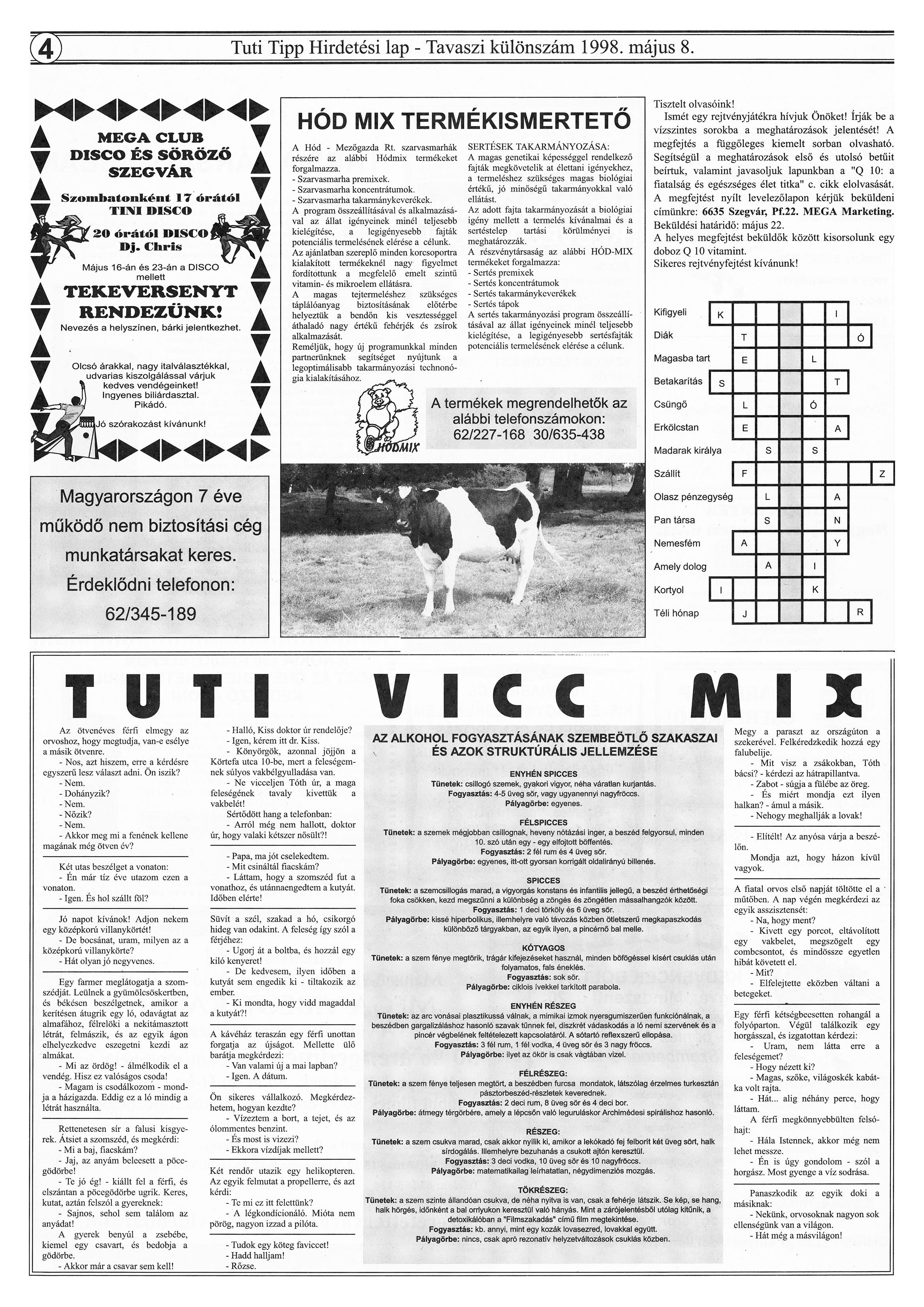 018 Tuti Tipp reklámújság különszám - 19980508-085. lapszám - 4.oldal - IV. évfolyam.jpg