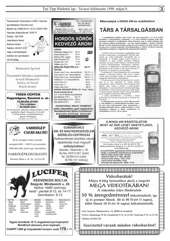 017 Tuti Tipp reklámújság különszám - 19980508-085. lapszám - 3.oldal - IV. évfolyam.jpg