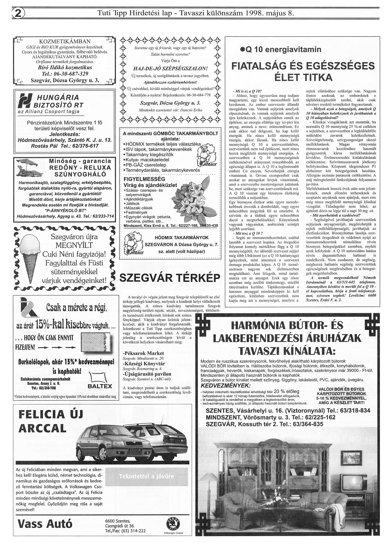 016 Tuti Tipp reklámújság különszám - 19980508-085. lapszám - 2.oldal - IV. évfolyam.jpg