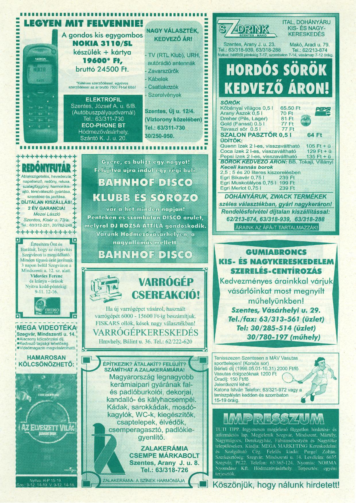 014 Tuti Tipp reklámújság - 19980425-084. lapszám - 2.oldal - IV. évfolyam.jpg