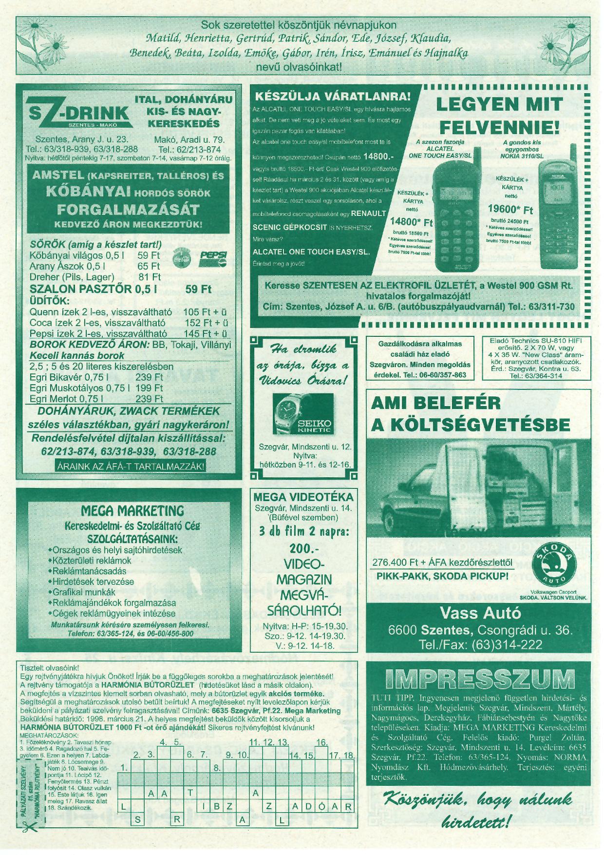 008 Tuti Tipp reklámújság - 19980314-081. lapszám - 2.oldal - IV. évfolyam.jpg