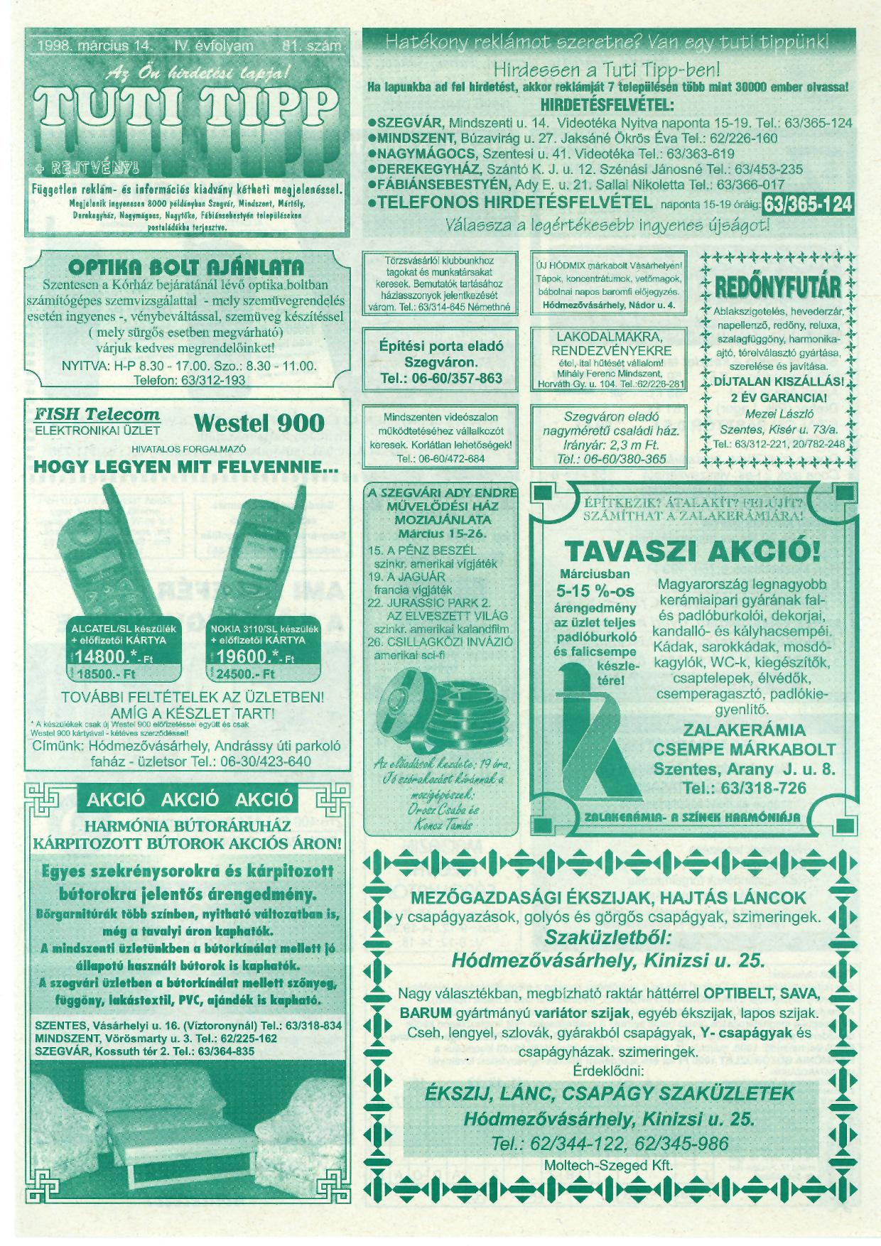 007 Tuti Tipp reklámújság - 19980314-081. lapszám - 1.oldal - IV. évfolyam.jpg