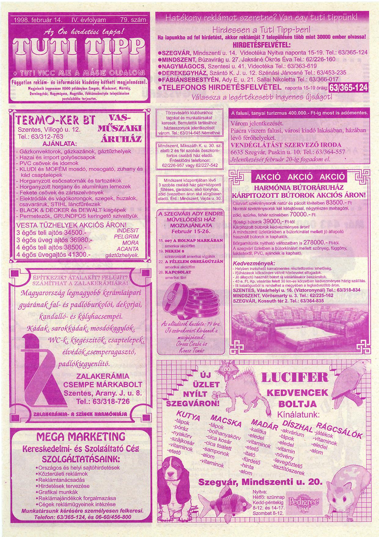 003 Tuti Tipp reklámújság - 19980214-079. lapszám - 1.oldal - IV. évfolyam.jpg