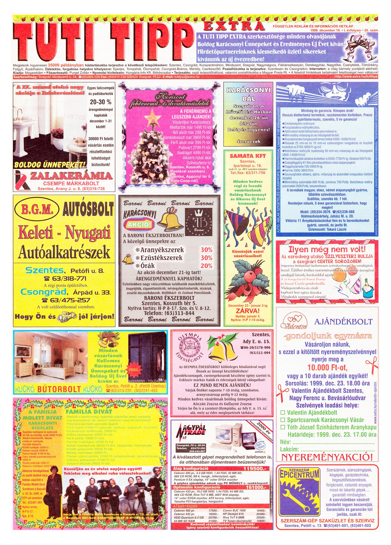 079 Tuti Tipp Extra reklámújság - 19991218-026. lapszám - 1.oldal - V. évfolyam.jpg