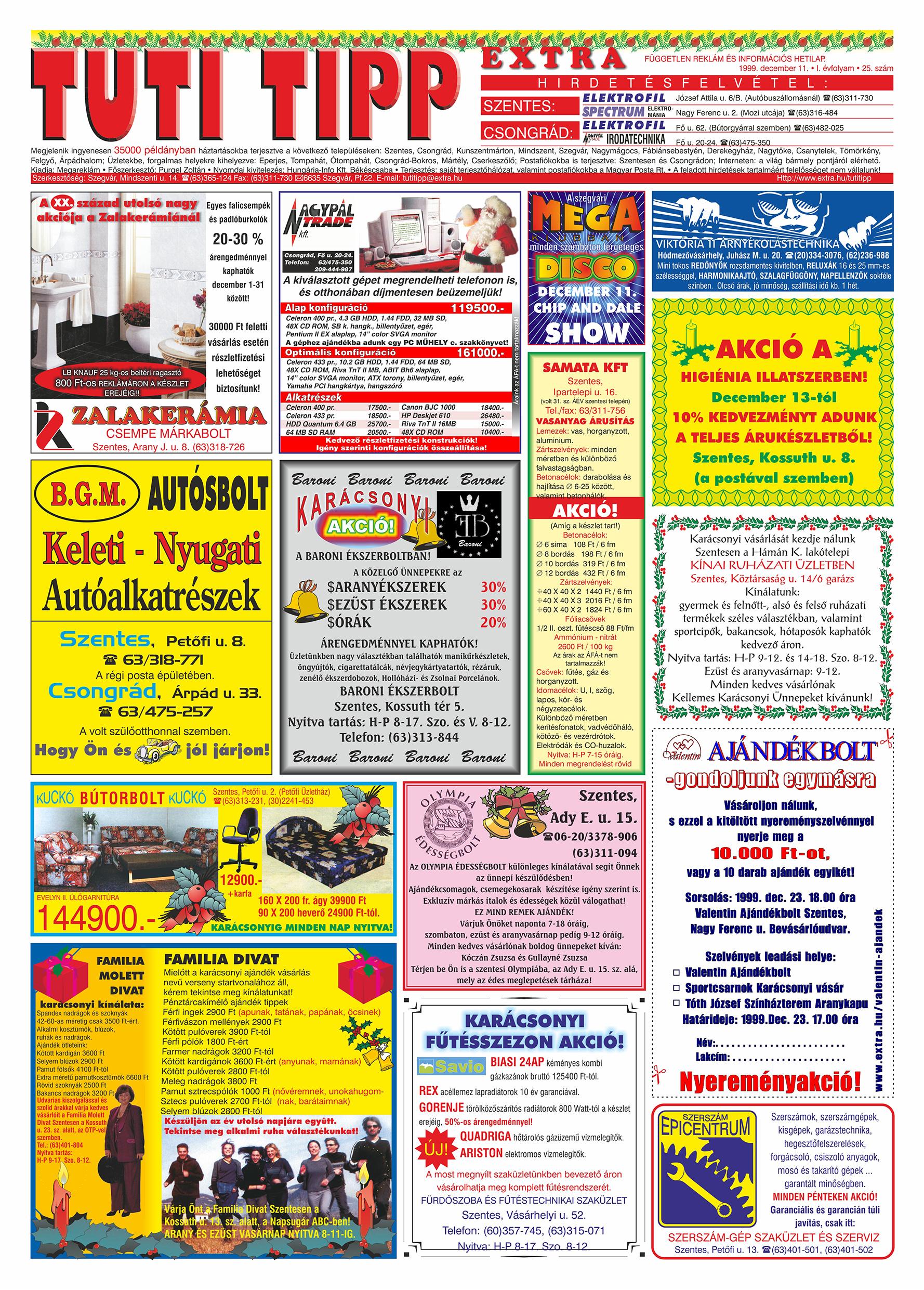 077 Tuti Tipp Extra reklámújság - 19991211-025. lapszám - 1.oldal - V. évfolyam.jpg