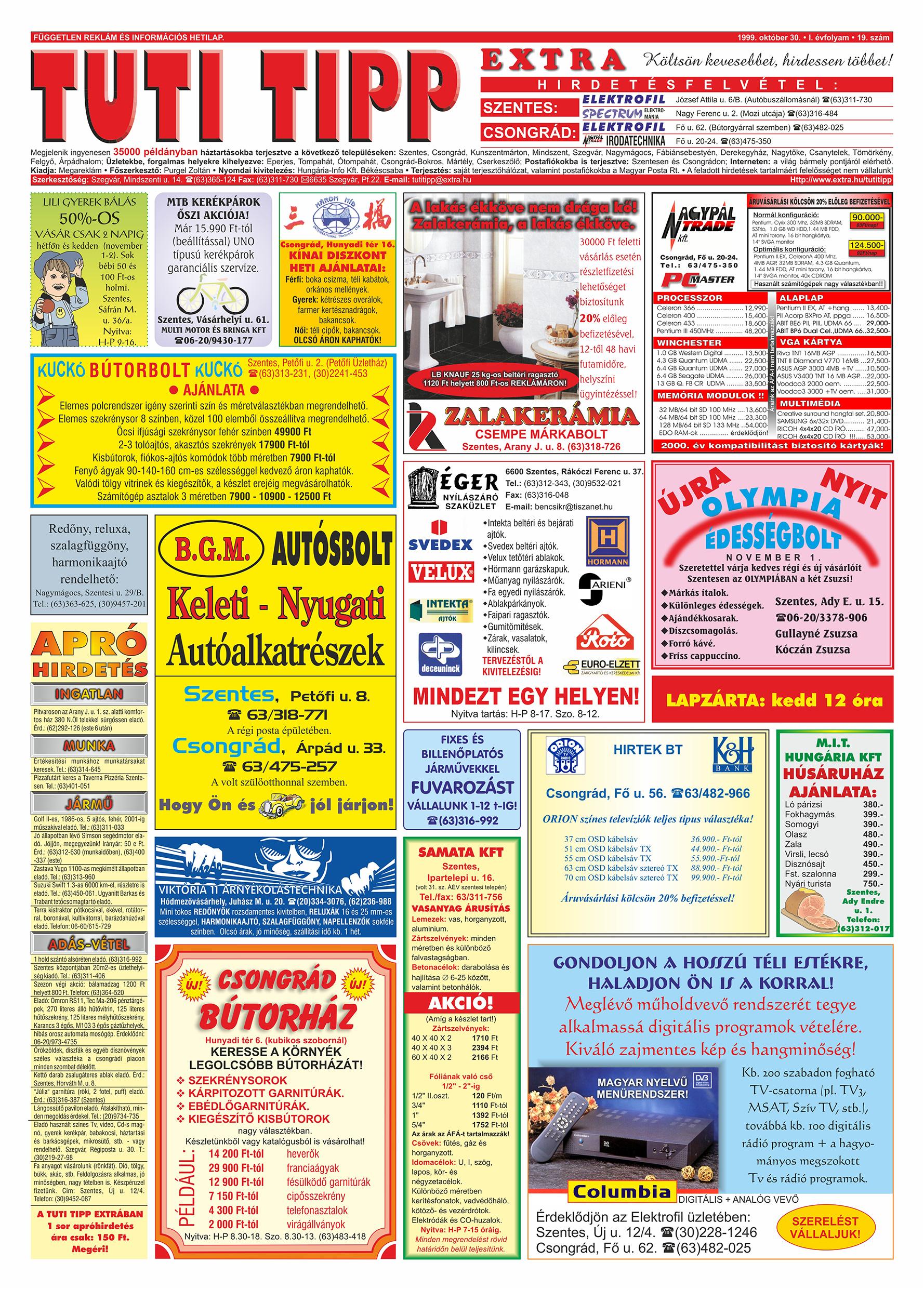 063 Tuti Tipp Extra reklámújság - 19991030-019. lapszám - 1.oldal - V. évfolyam.jpg