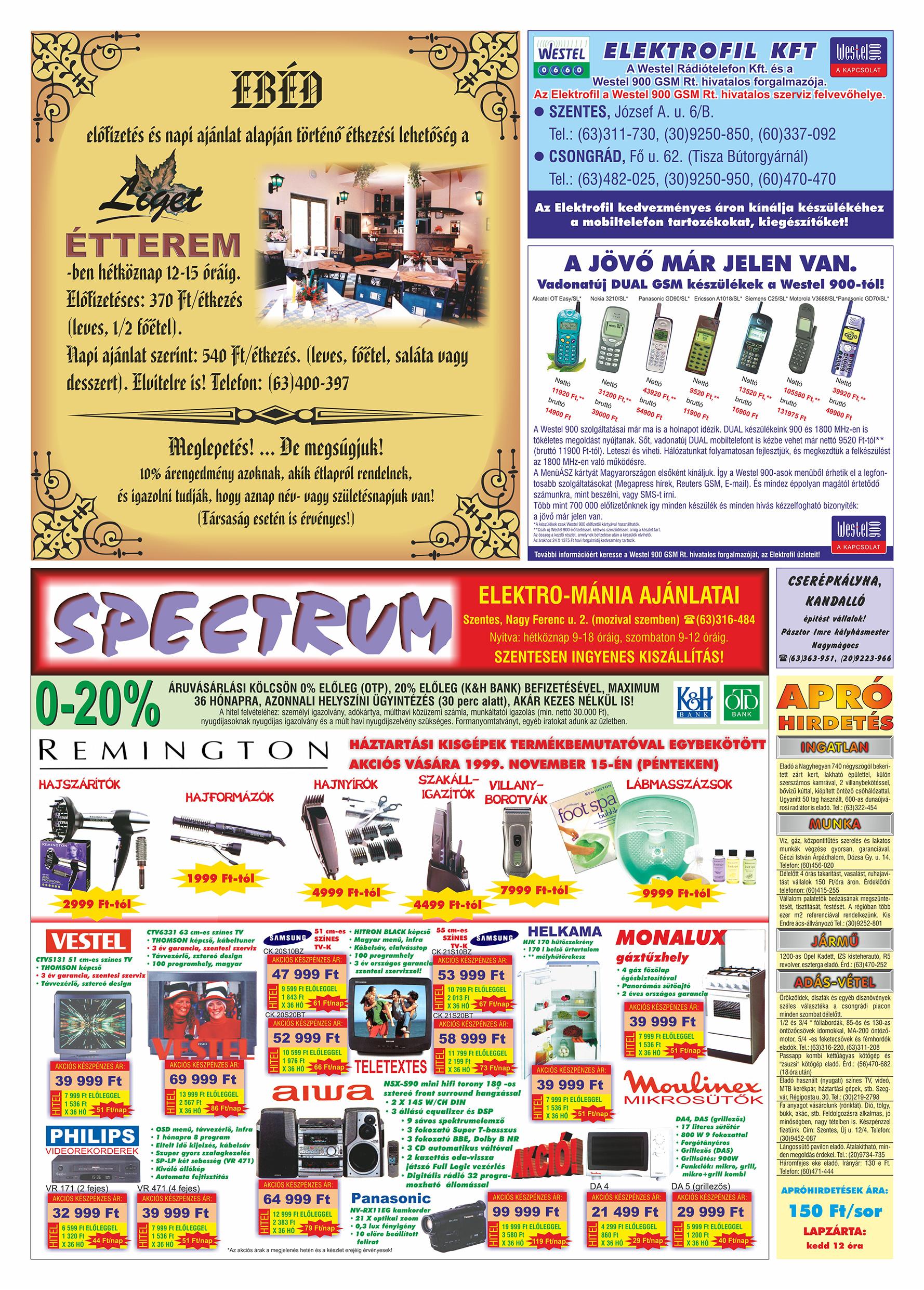 058 Tuti Tipp Extra reklámújság - 19991009-016. lapszám - 2.oldal - V. évfolyam.jpg