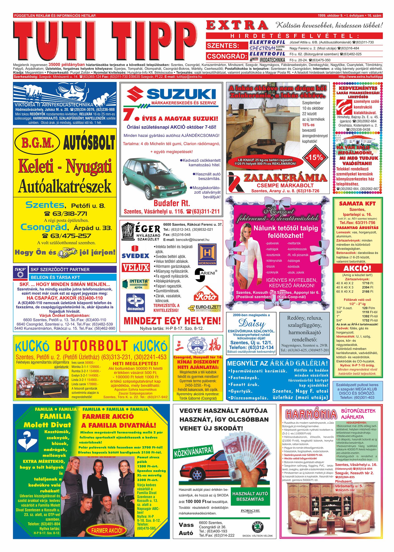 057 Tuti Tipp Extra reklámújság - 19991009-016. lapszám - 1.oldal - V. évfolyam.jpg
