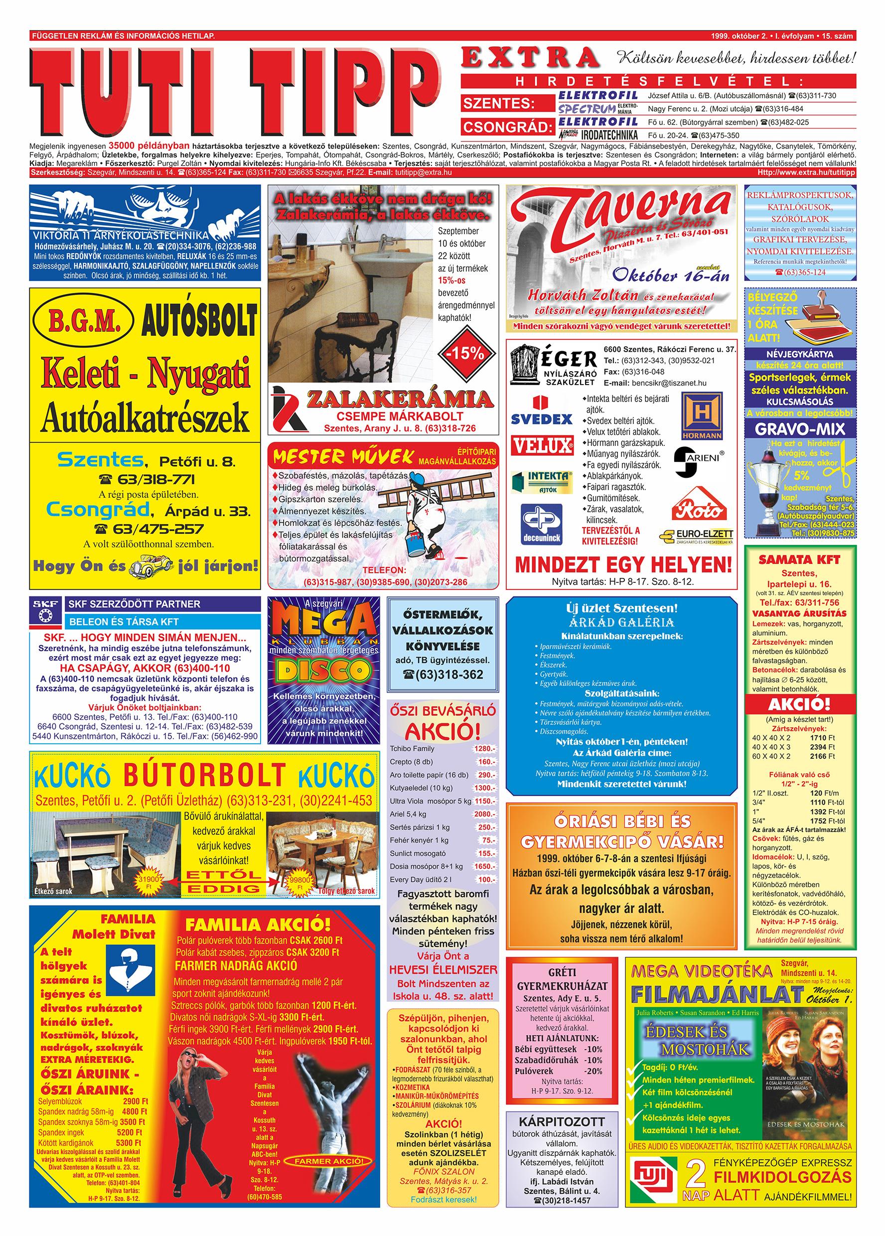 055 Tuti Tipp Extra reklámújság - 19991002-015. lapszám - 1.oldal - V. évfolyam.jpg