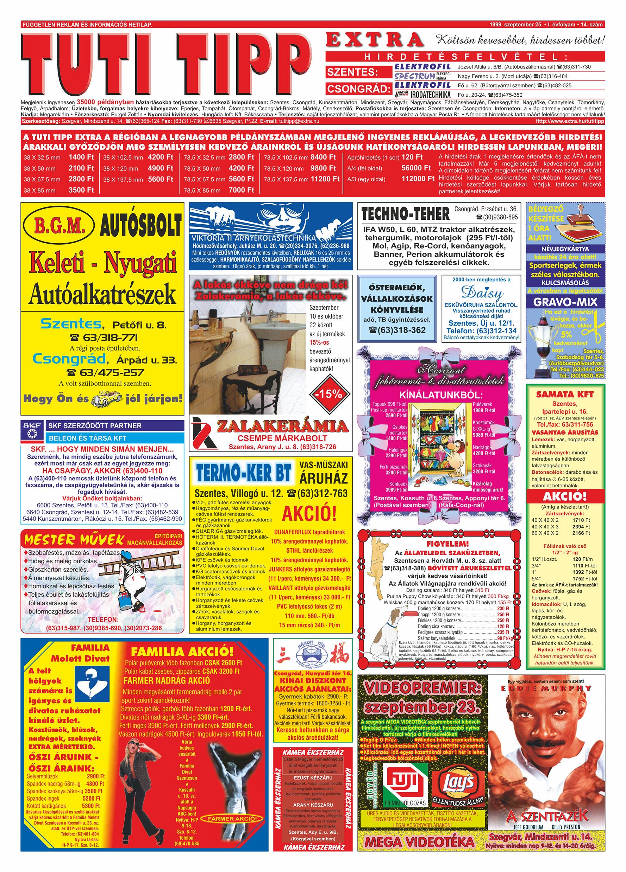 053 Tuti Tipp Extra reklámújság - 19990925-014. lapszám - 1.oldal - V. évfolyam.jpg