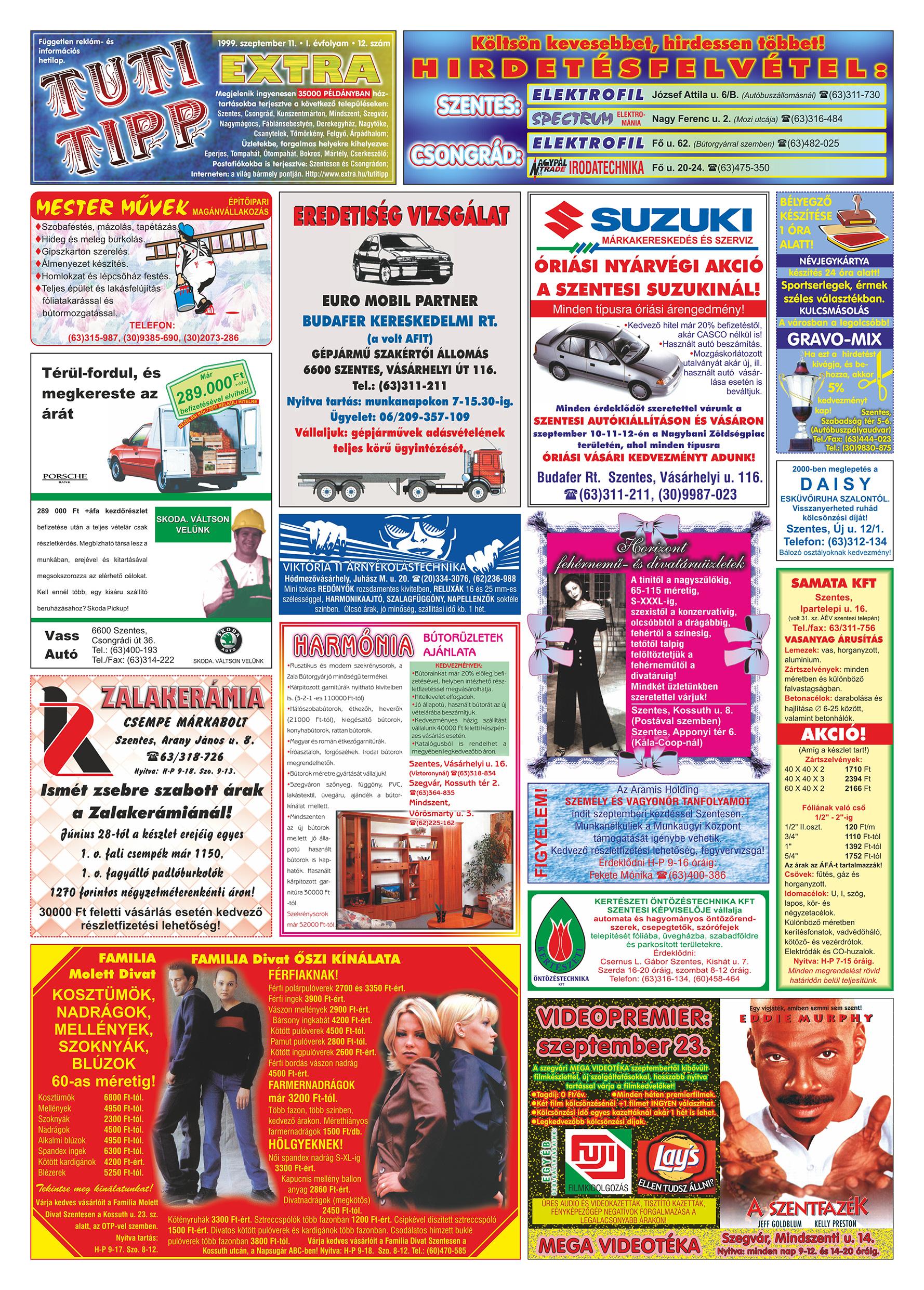 049 Tuti Tipp Extra reklámújság - 19990911-012. lapszám - 1.oldal - V. évfolyam.jpg