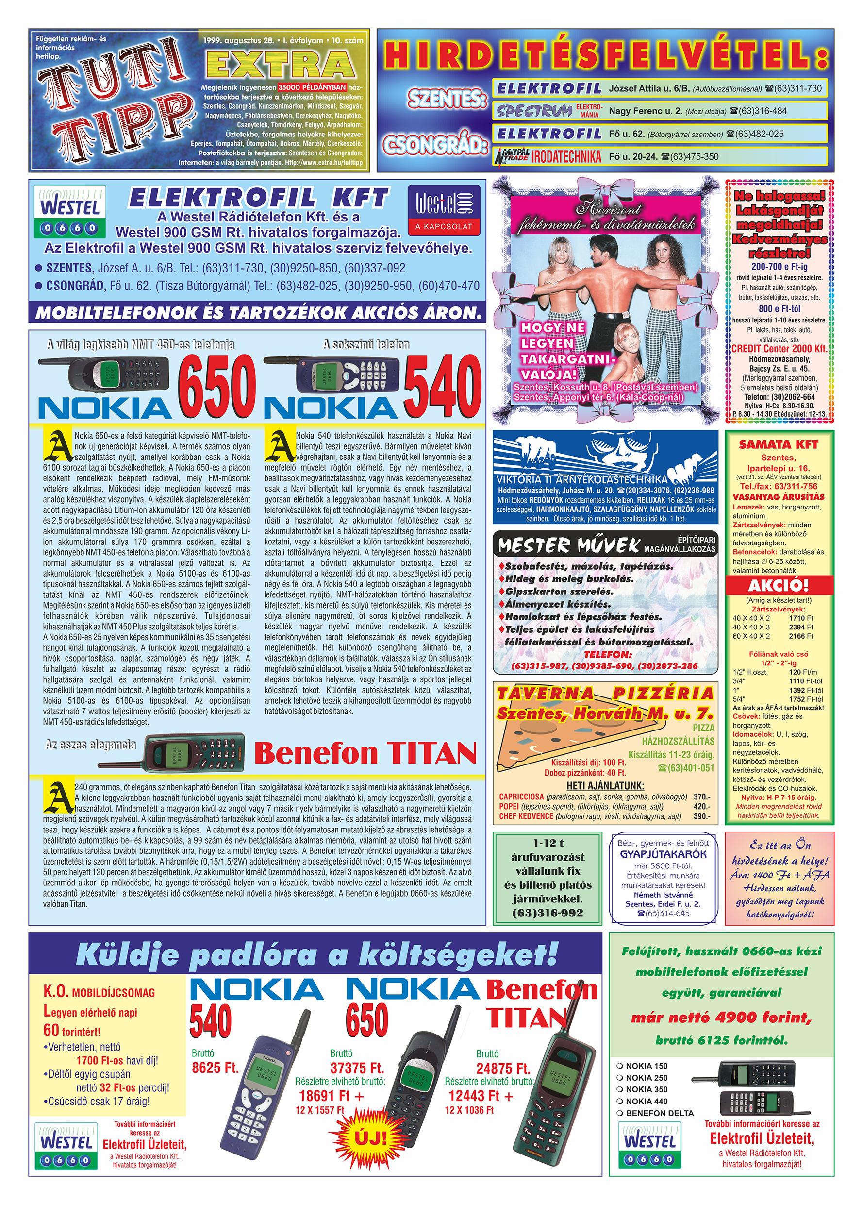 045 Tuti Tipp Extra reklámújság - 19990828-010. lapszám - 1.oldal - V. évfolyam.jpg
