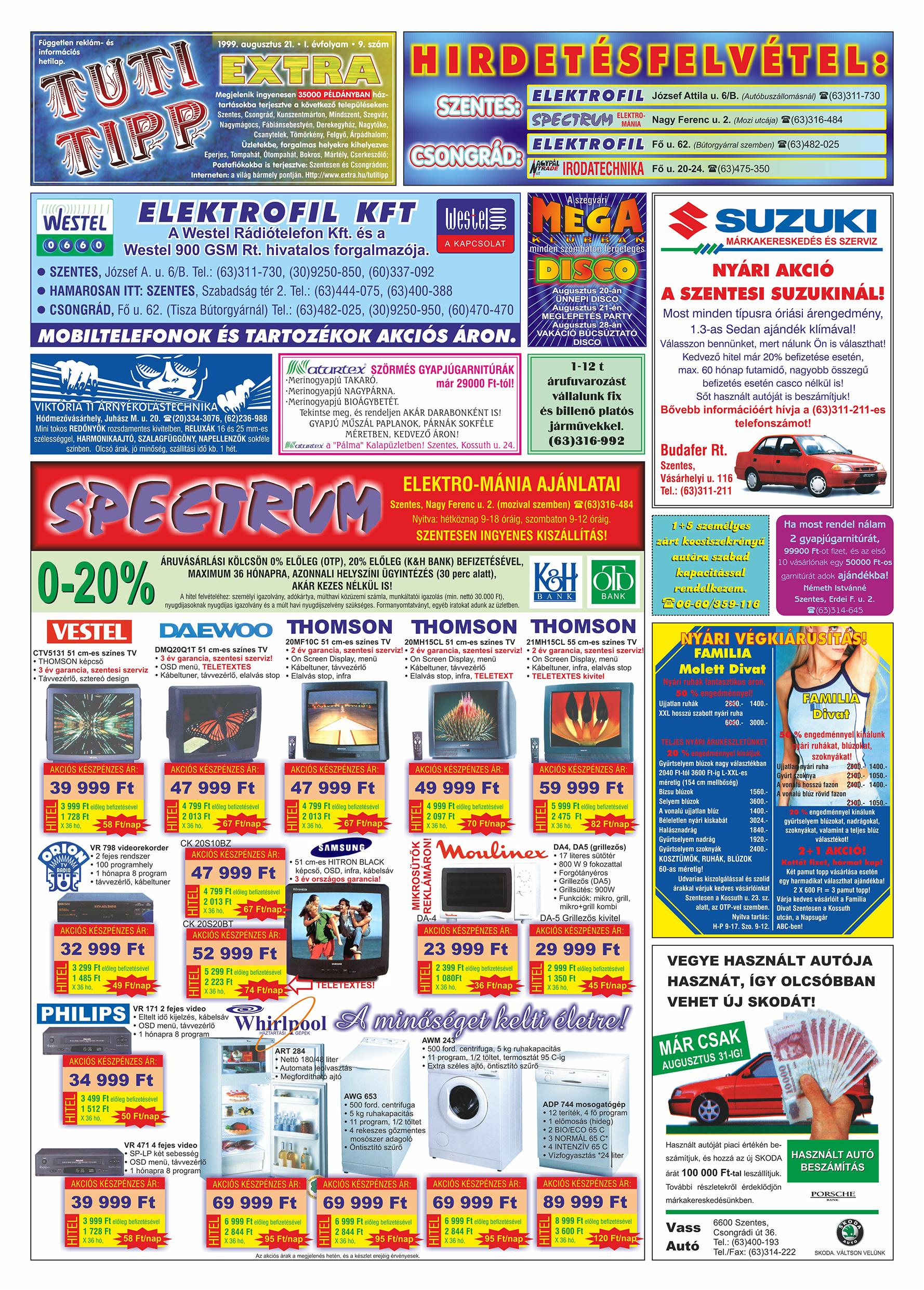 043 Tuti Tipp Extra reklámújság - 19990821-009. lapszám - 1.oldal - V. évfolyam.jpg