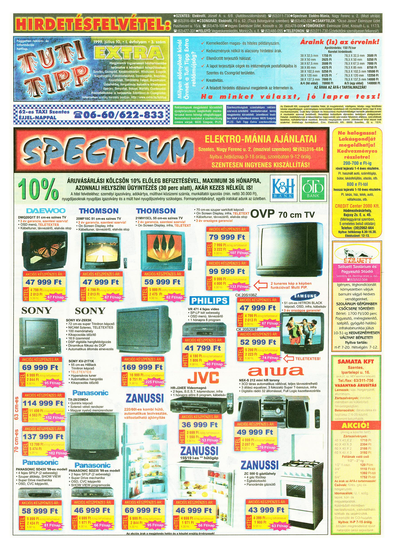 031 Tuti Tipp Extra reklámújság - 19990710-003. lapszám - 1.oldal - V. évfolyam.jpg