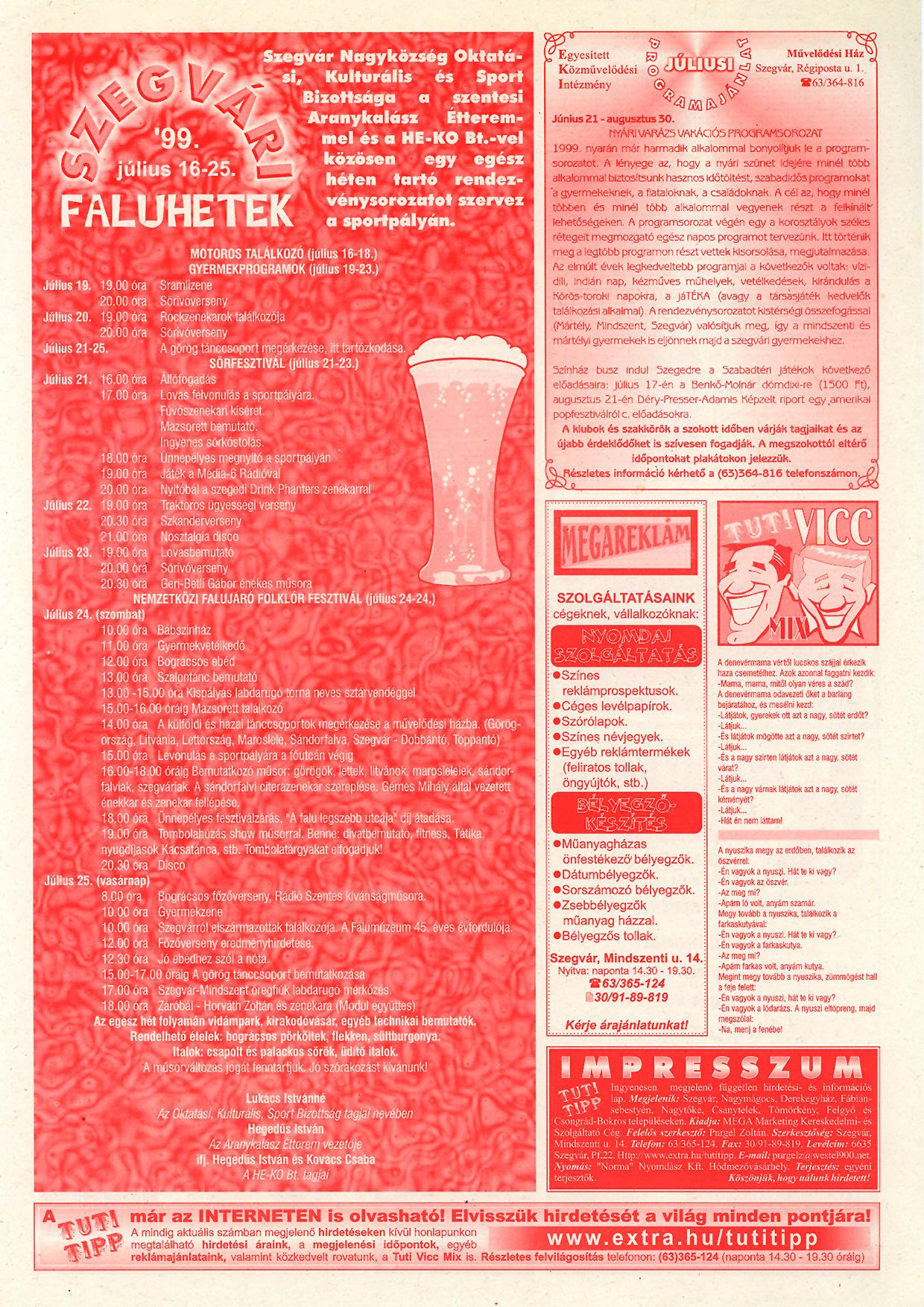 030 Tuti Tipp reklámújság - 19990710-124. lapszám - 2.oldal - V. évfolyam.jpg
