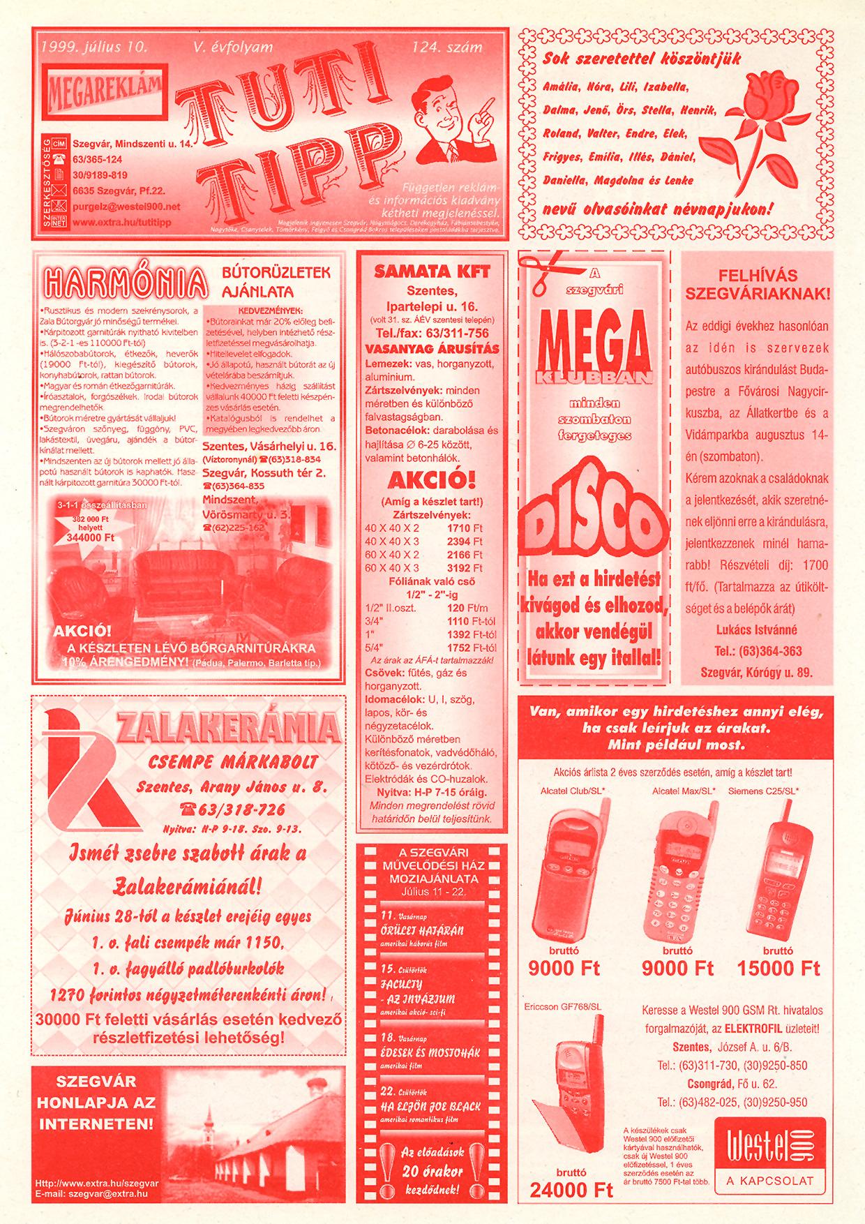029 Tuti Tipp reklámújság - 19990710-124. lapszám - 1.oldal - V. évfolyam.jpg