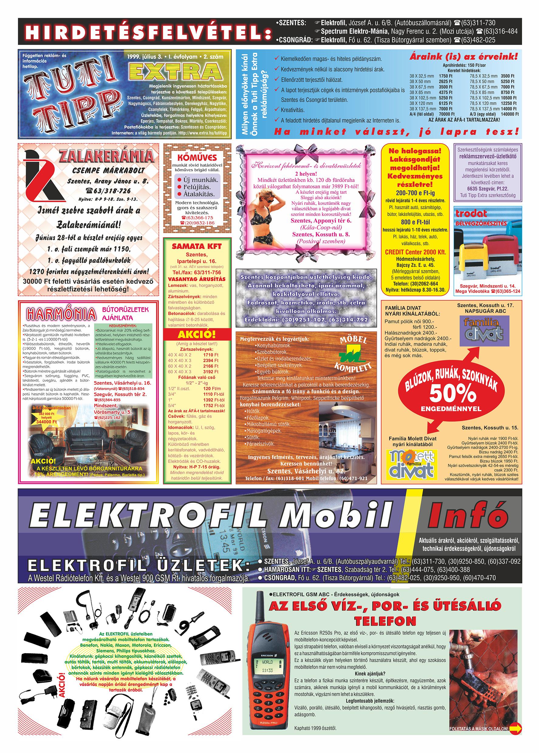 027 Tuti Tipp Extra reklámújság - 19990703-002. lapszám - 1.oldal - V. évfolyam.jpg