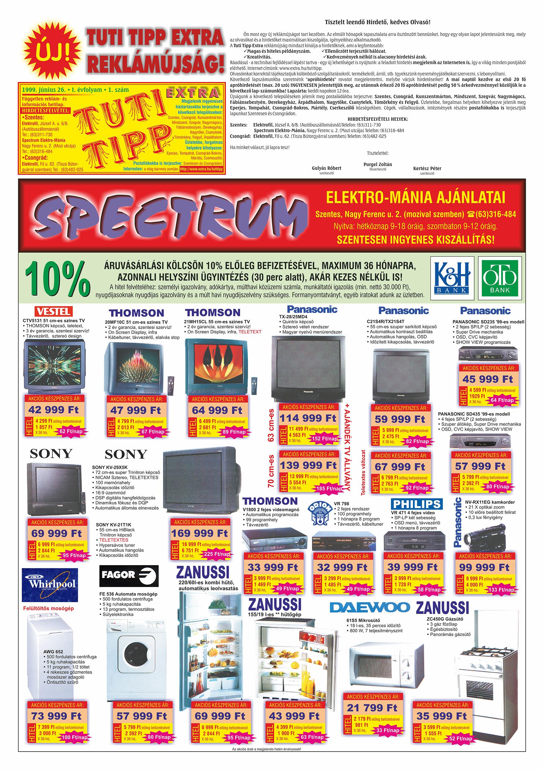 025 Tuti Tipp Extra reklámújság - 19990626-001. lapszám - 1.oldal - V. évfolyam.jpg