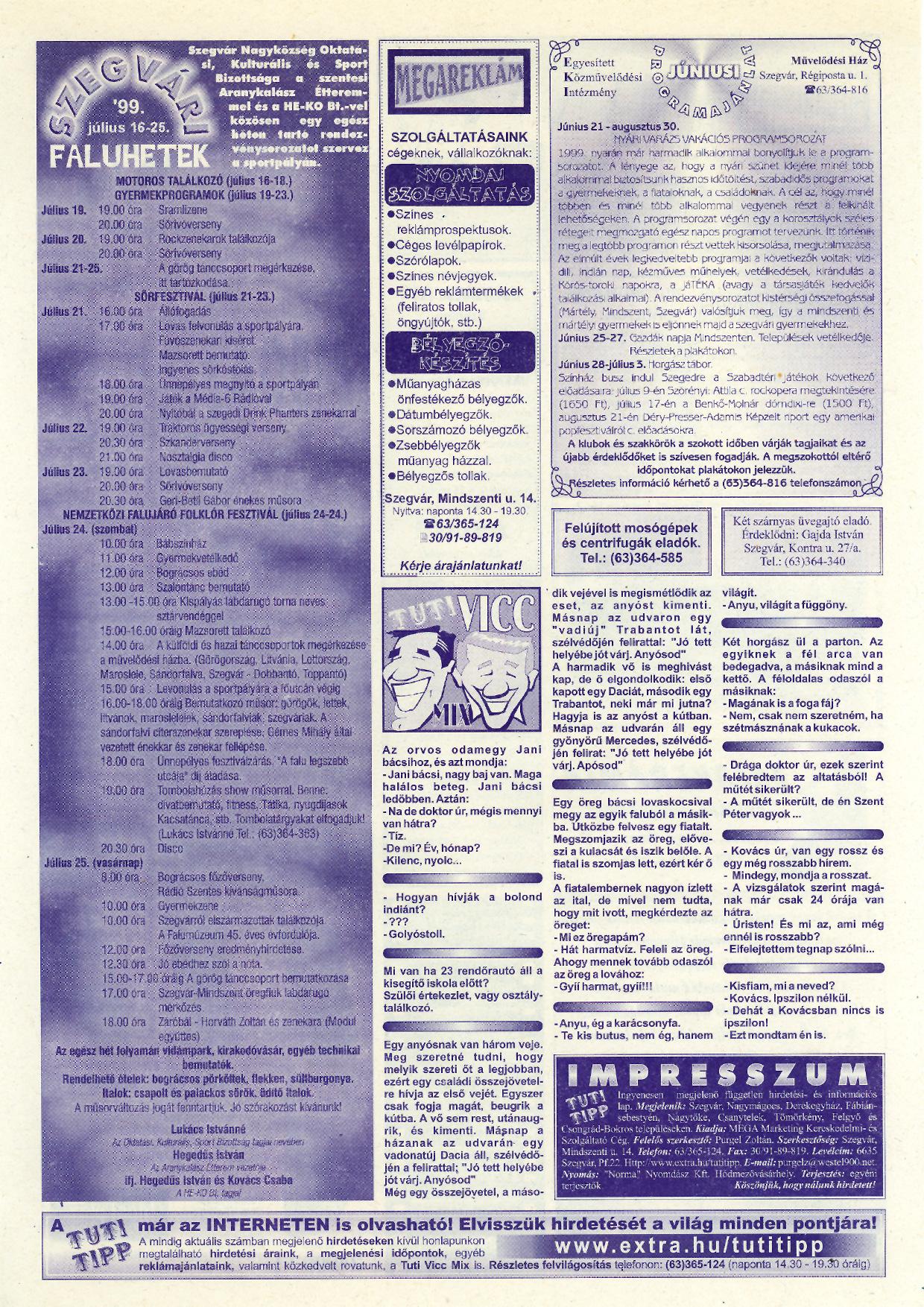 024 Tuti Tipp reklámújság - 19990626-123. lapszám - 2.oldal - V. évfolyam.jpg
