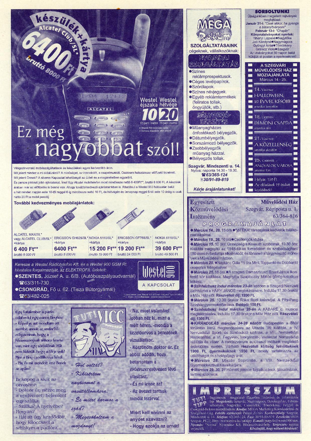 008 Tuti Tipp reklámújság - 19990313-116. lapszám - 2.oldal - V. évfolyam.jpg