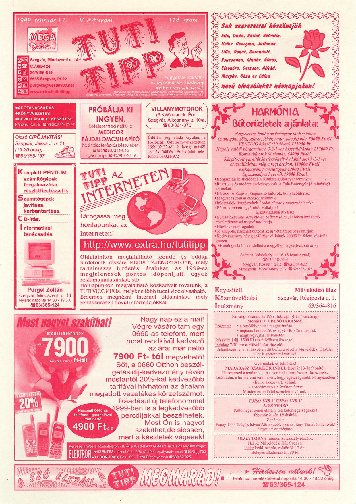 003 Tuti Tipp reklámújság - 19990213-114. lapszám - 1.oldal - V. évfolyam.jpg