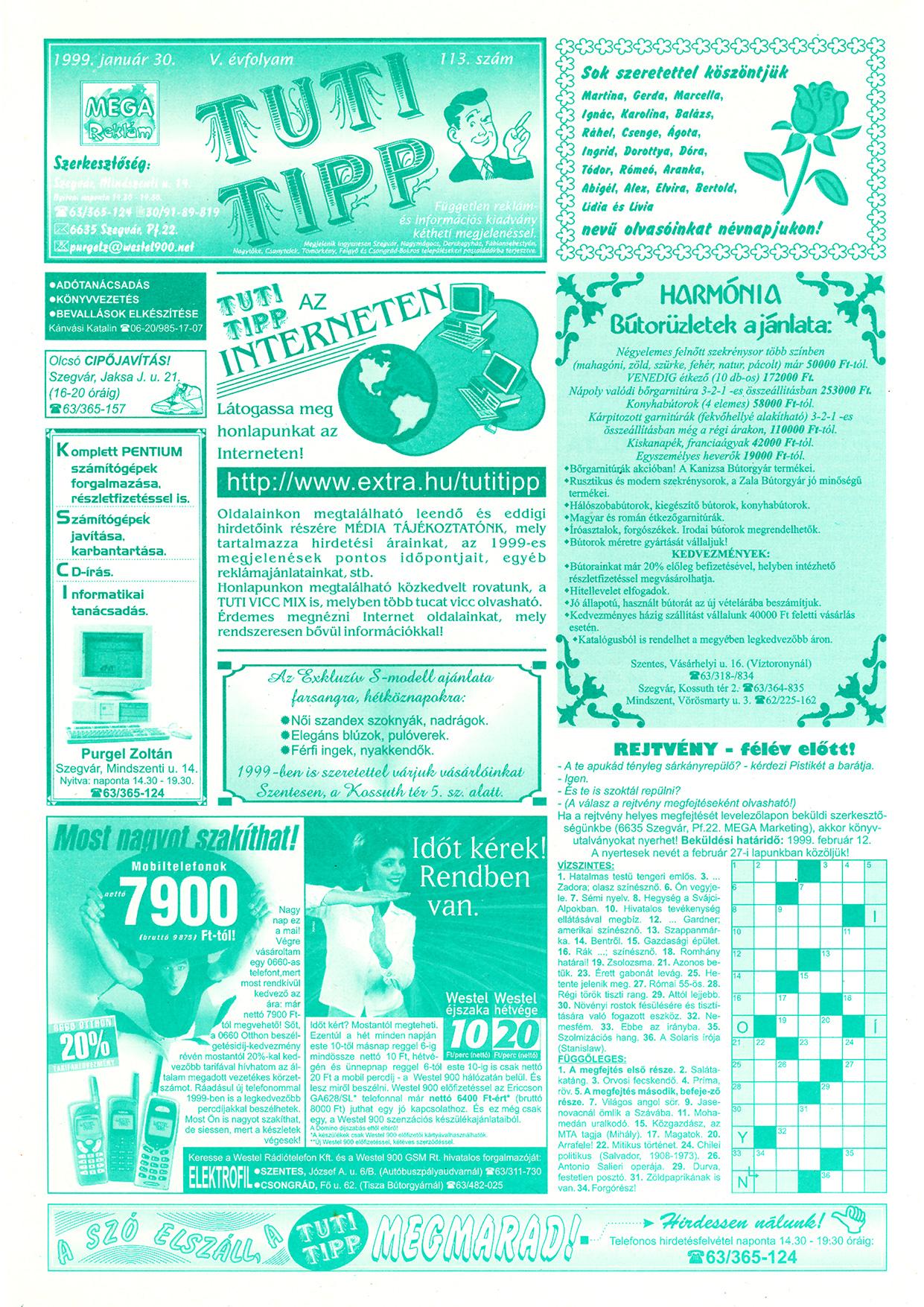 001 Tuti Tipp reklámújság - 19990130-113. lapszám - 1.oldal - V. évfolyam.jpg