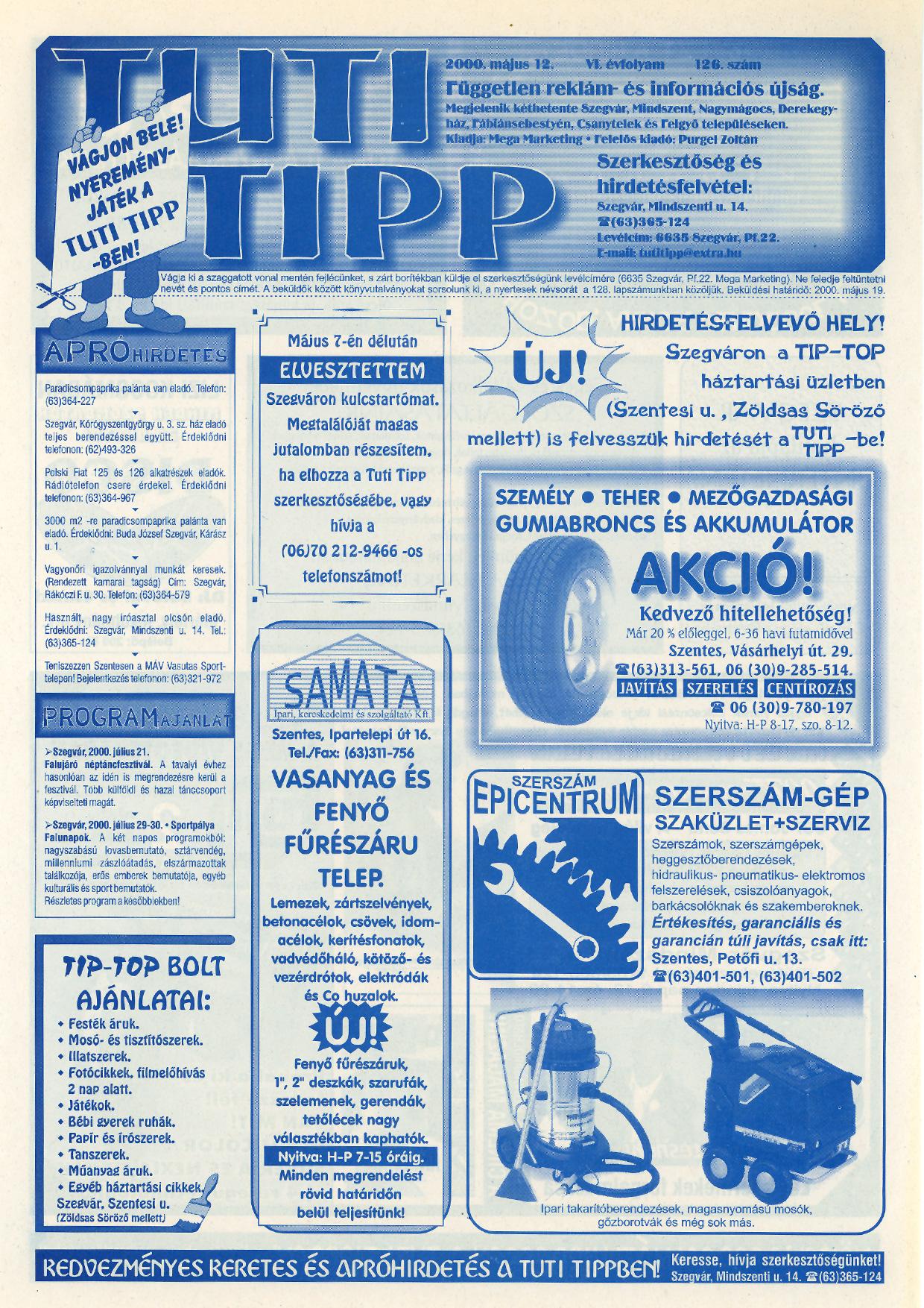 005 Tuti Tipp reklámújság - 20000512-126. lapszám - 1.oldal - VI. évfolyam.jpg