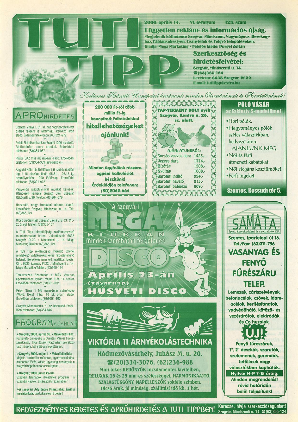 003 Tuti Tipp reklámújság - 20000414-125. lapszám - 1.oldal - VI. évfolyam.jpg