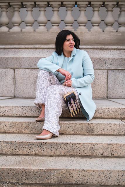 wide leg sequin pants, mint green sweater, wool top coat, whiting and davis skyline bag-5.jpg
