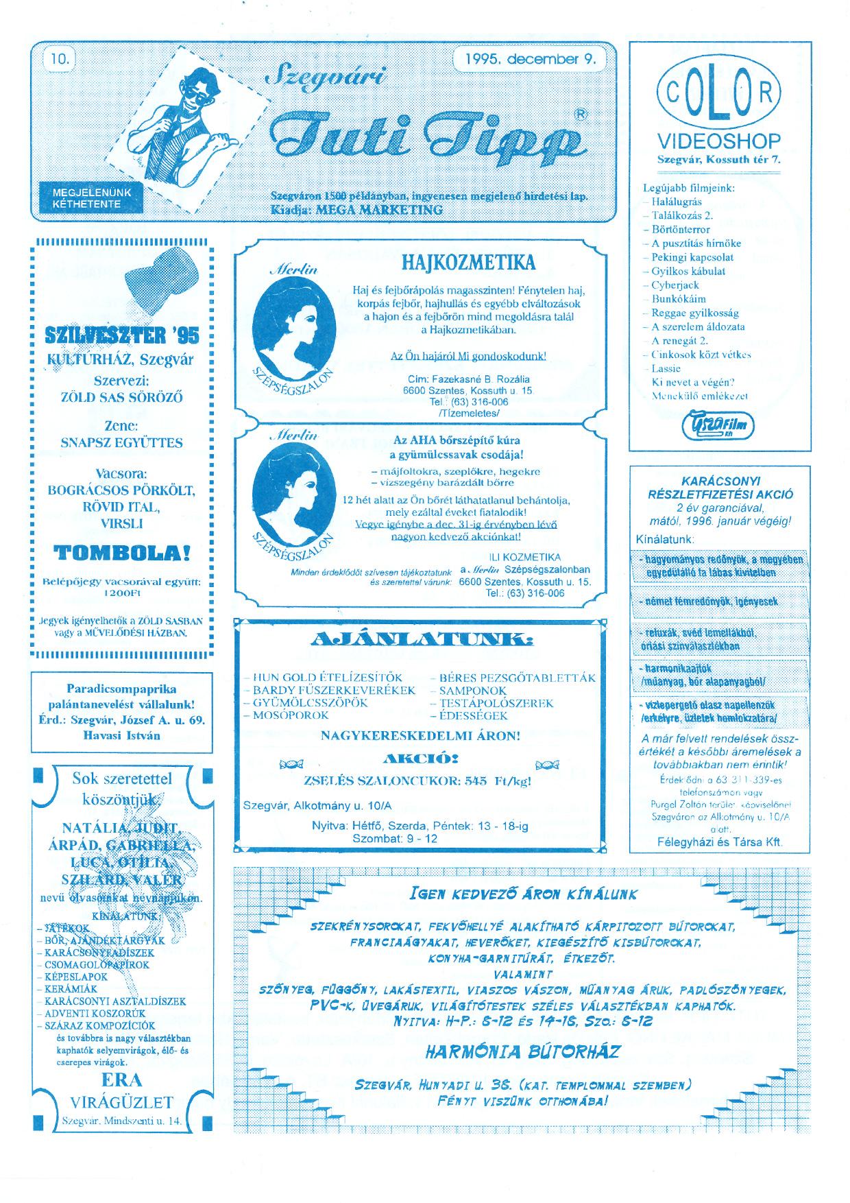 021 Szegvári Tuti Tipp reklámújság - 19951209-010. lapszám -1.oldal - I. évfolyam.jpg