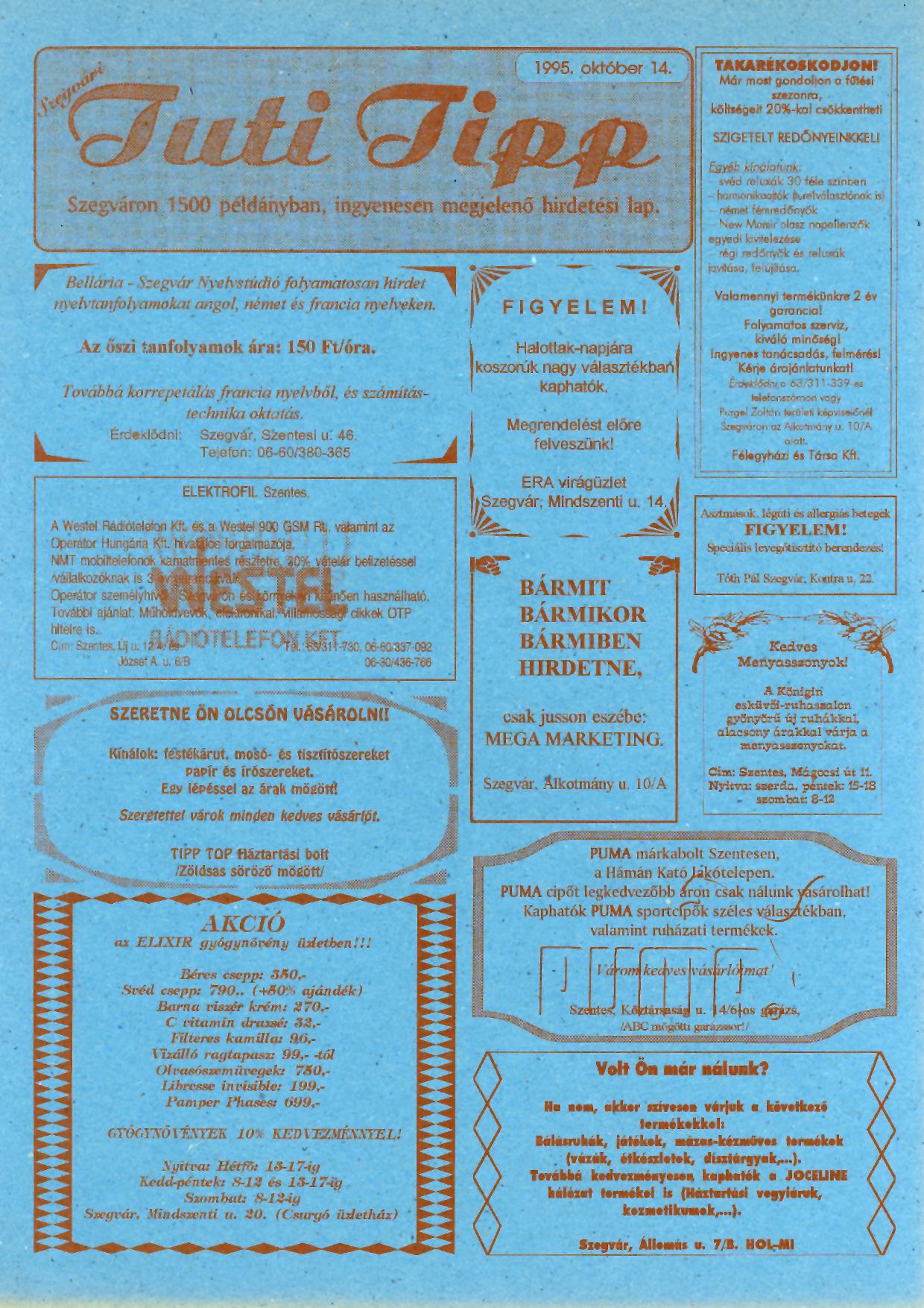 011 Tuti Tipp reklámújság - 19951014-005. lapszám -1.oldal - I. évfolyam.jpg