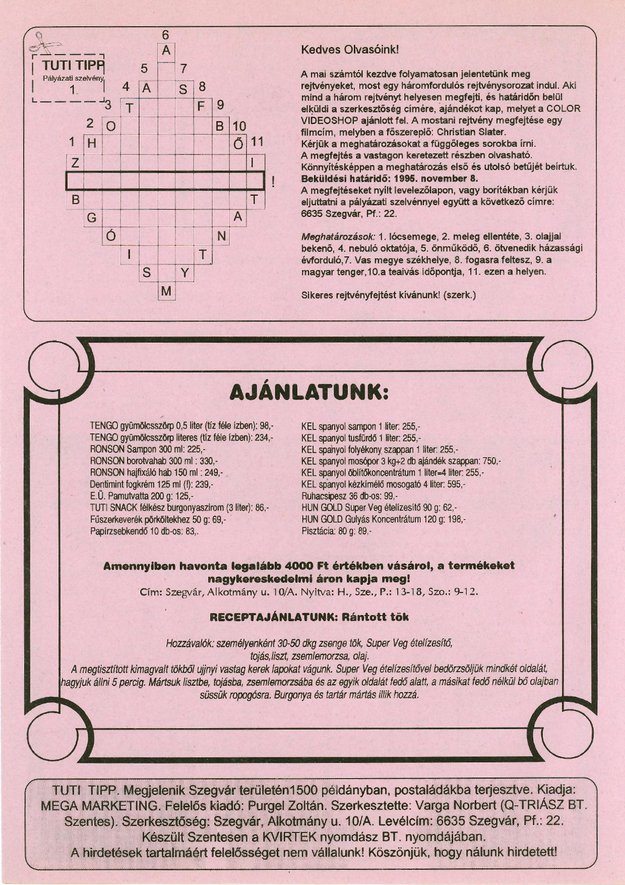 010 Tuti Tipp reklámújság - 19950930-004. lapszám -4.oldal - I. évfolyam.jpg